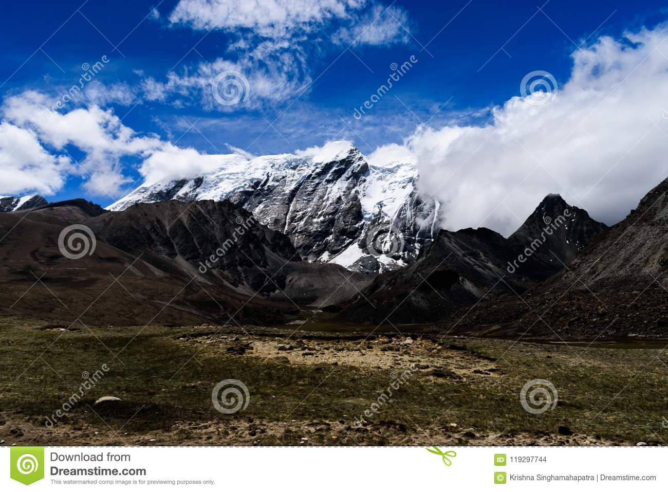 Himalayan Mountain Valley With dramatic Skyscape On The Way To Gurudongmar