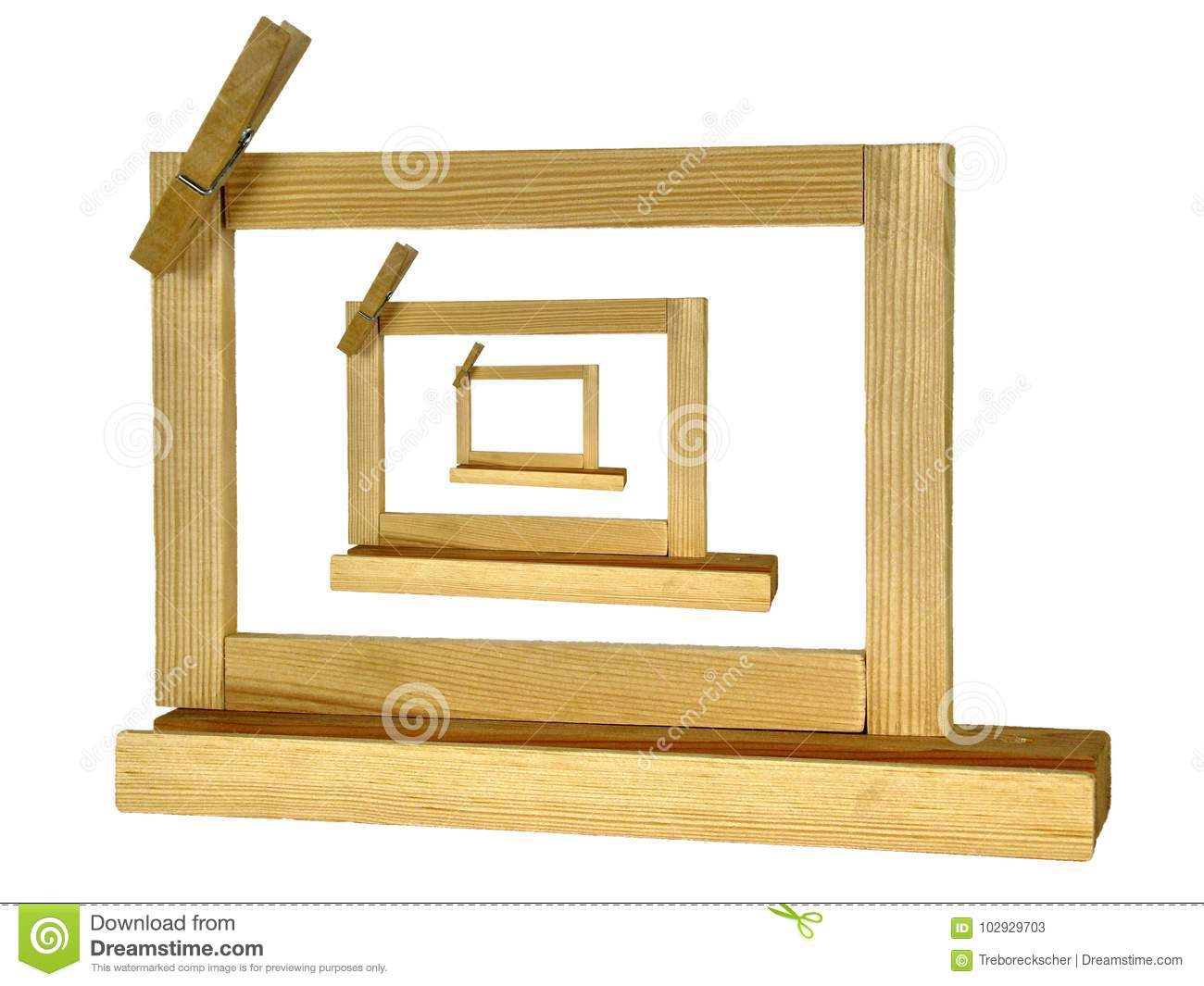 Picture in Picture three Wooden picture frames or notice panel o