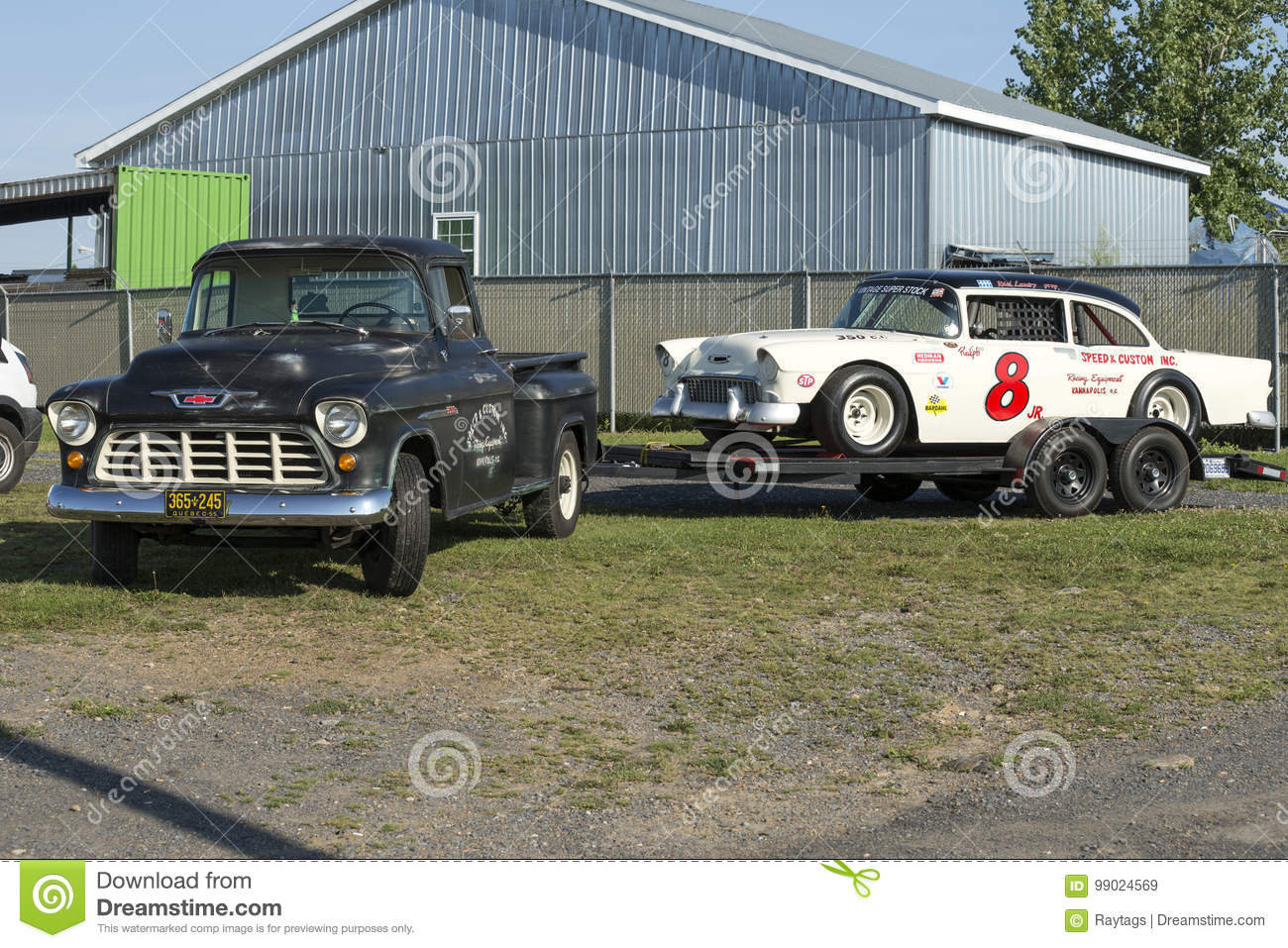 Vintage Race Car On The Trailer Editorial Stock Image - Image of ...