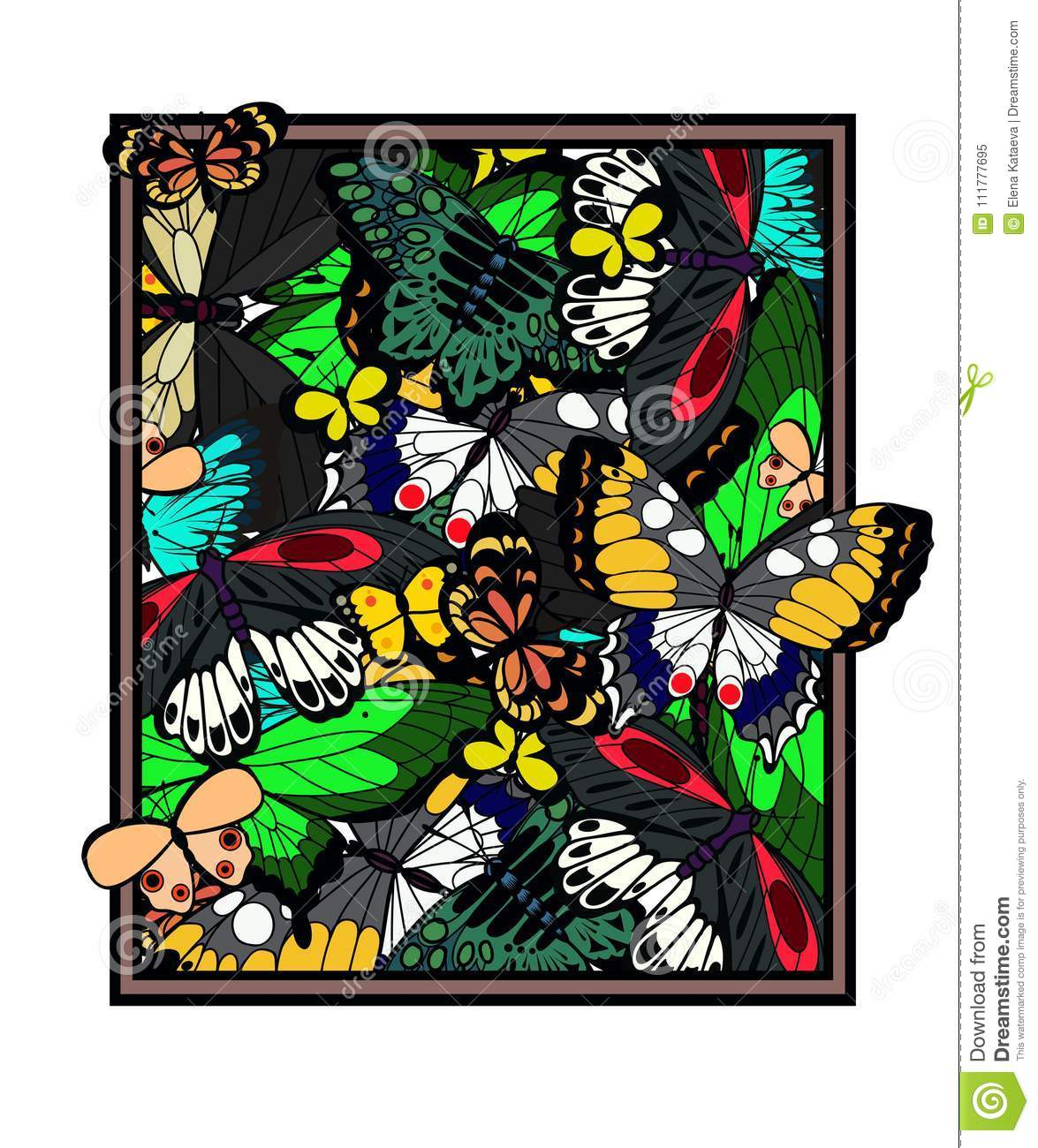 A picture which is made of butterflies. illustration