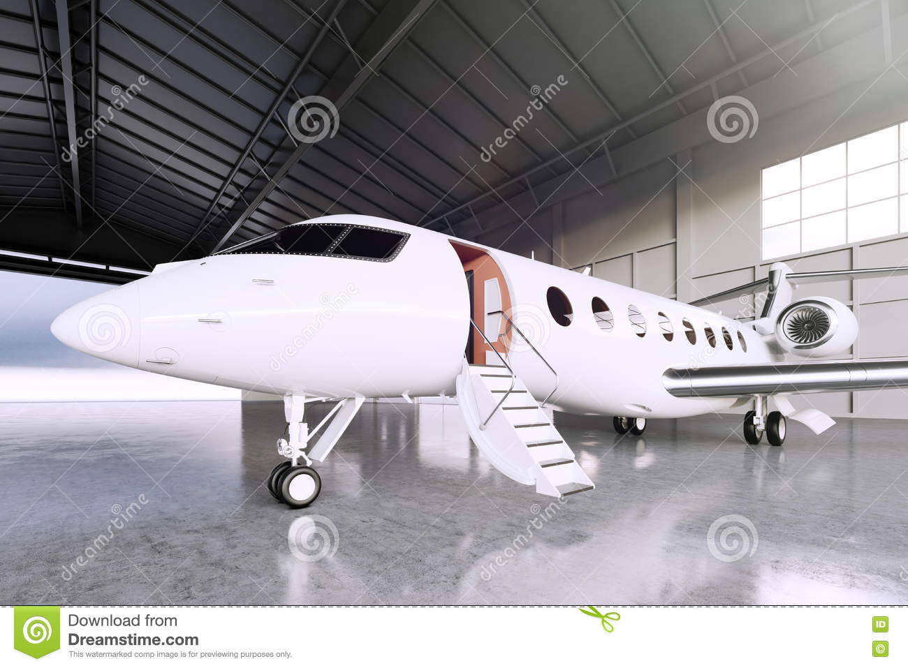 Picture of White Matte Luxury Generic Design Private Jet parking in hangar airport. Concrete floor. Business Travel