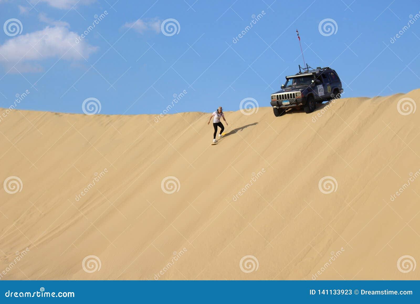 Sandboarding in the Faiyum desert