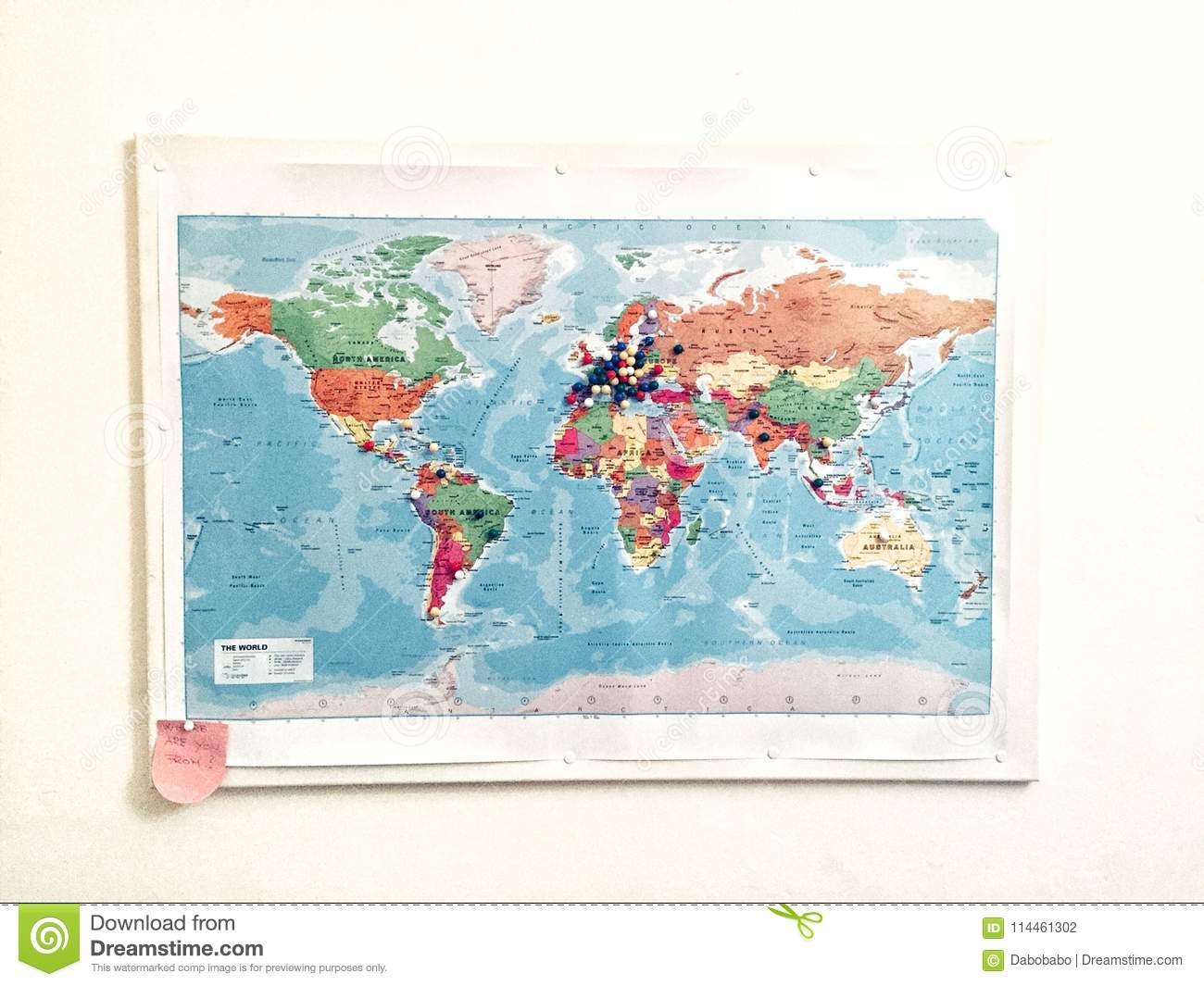 Travel map on a wall stock photo image of countries 114461302 royalty free stock photo gumiabroncs Gallery