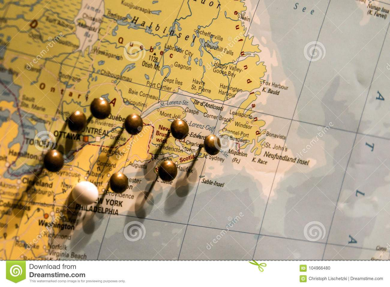 picture of world map travel concept with many pushpins pins east usa