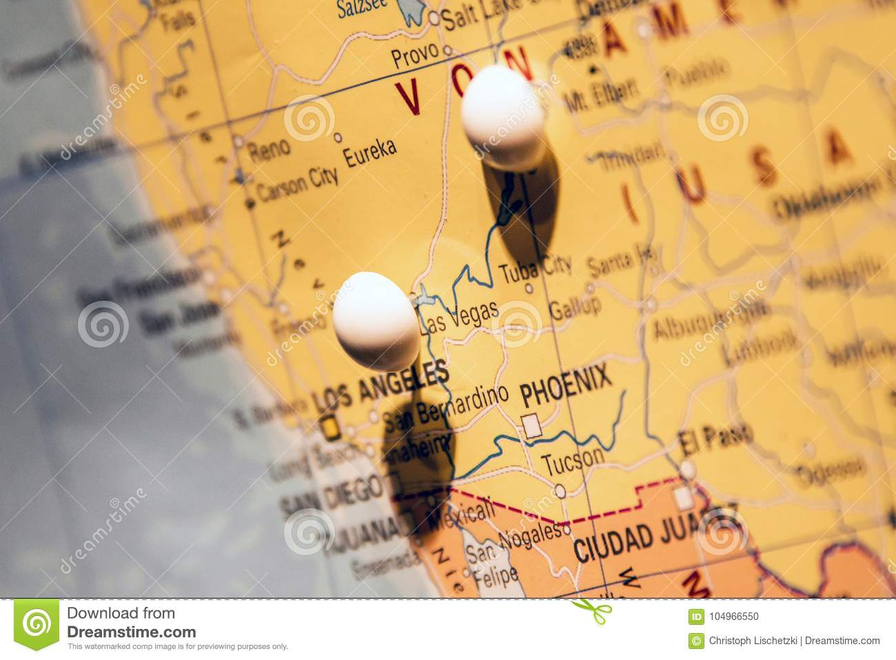 Image of: Picture Of World Map Travel Concept With Many Pushpins Pins At West Coast Usa Las Vegas Stock Photo Image Of Goal Guidance 104966550