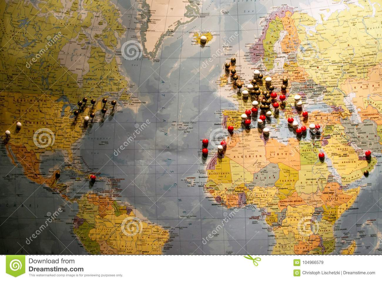 World Map Travel Pins.Picture Of World Map Travel Concept With Many Pushpins Spherical