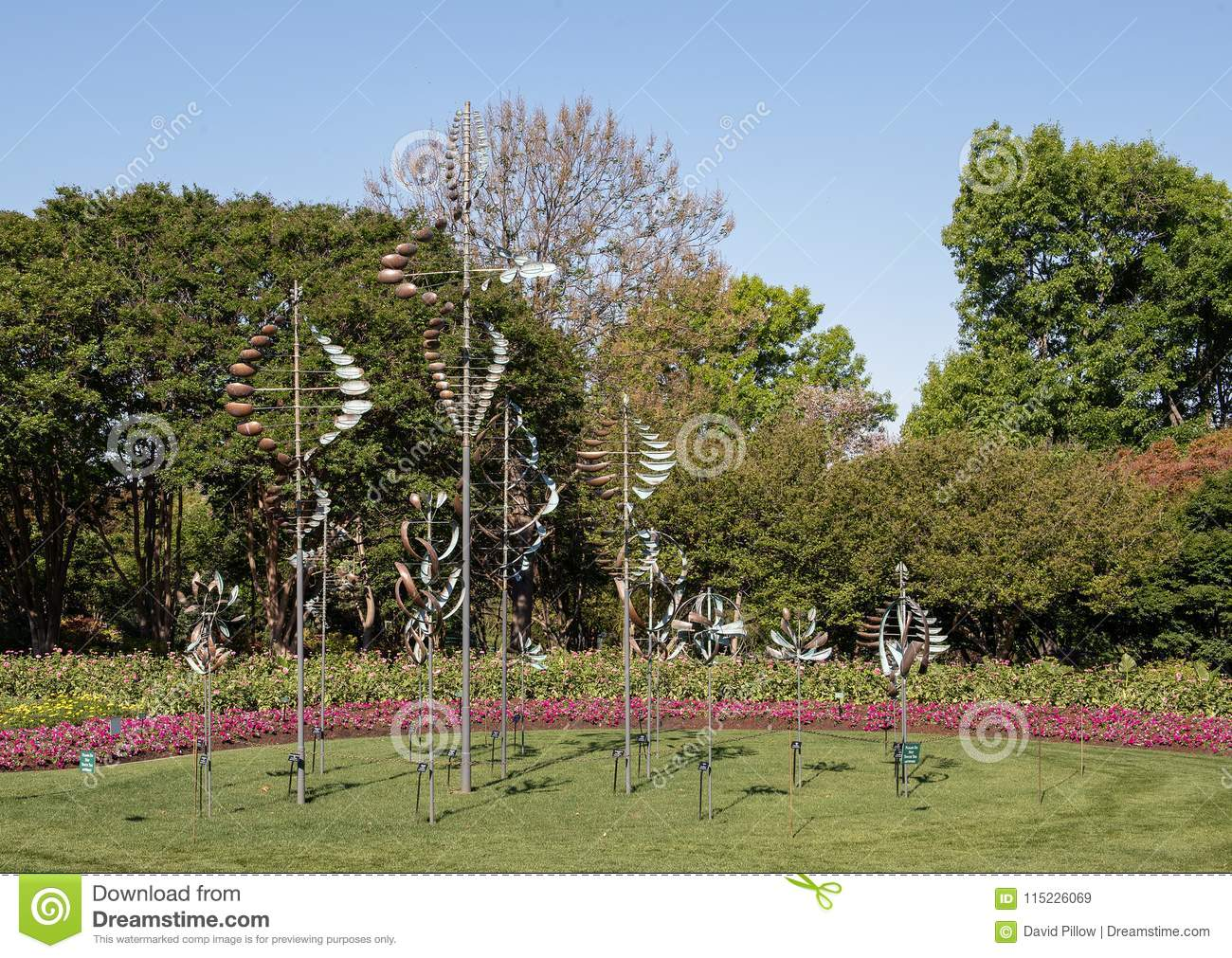 Windsculptures And Flower Beds, Dallas Arboretum And Botanical ...