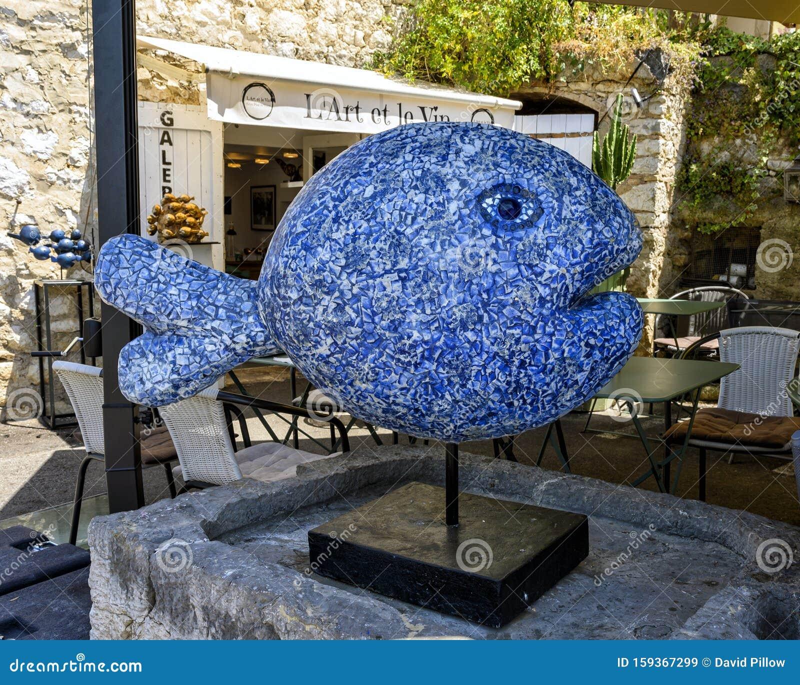 Saint Paul De Vence Art blue fish mosaic sculptureunidentified artist on display