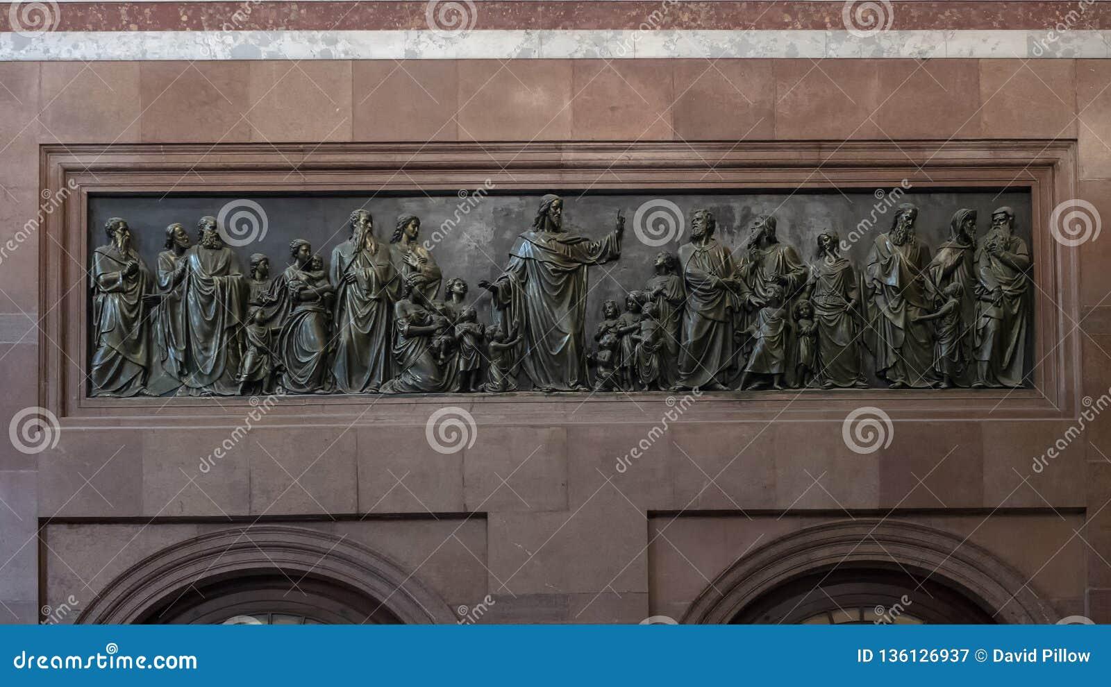 Bronze relief Jesus blessing the children, interior Esztergom Basilica, Esztergom, Hungary