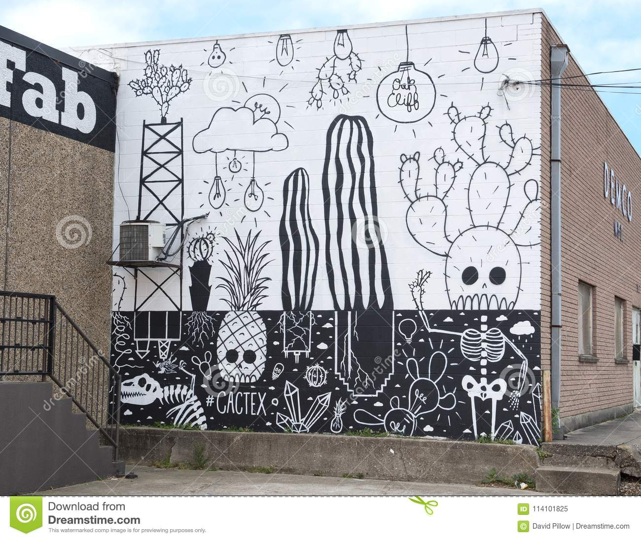 Pictured is a mural entiltled cactex painted by dallas artist wheron in the bishop arts district dallas texas it features a black and white cartoon
