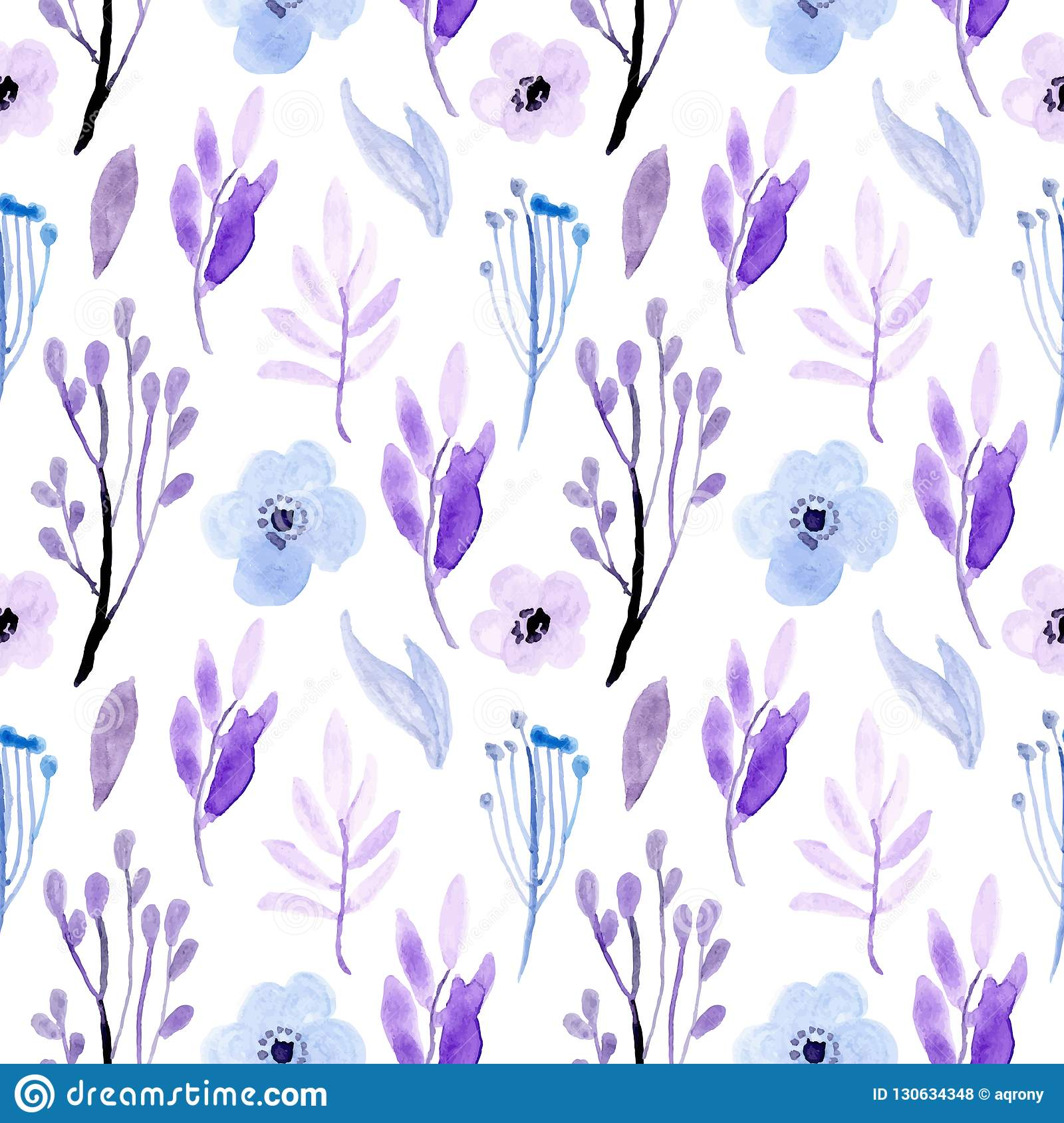 Seamless Pattern Watercolor Floral Soft Blue And Purple Stock