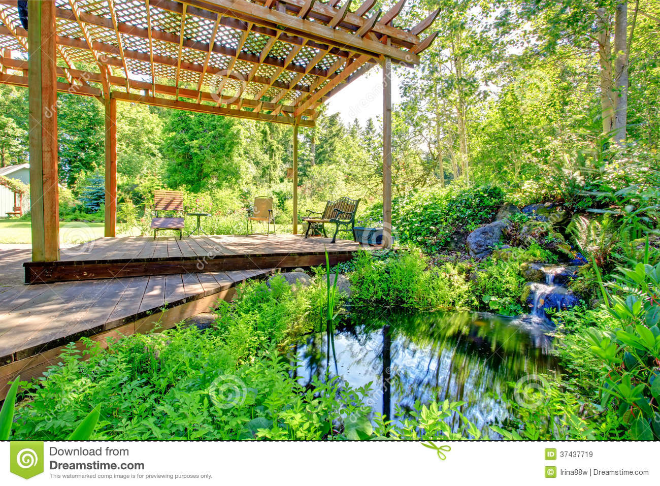 picturesque backyard farm garden with small pond and patio area stock image image of area. Black Bedroom Furniture Sets. Home Design Ideas