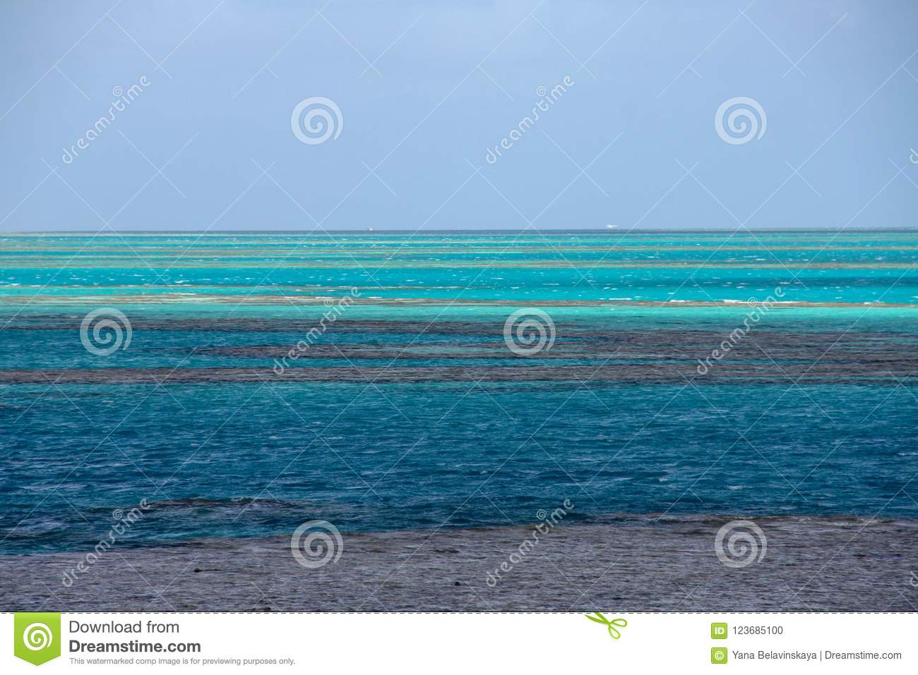 Picturesque blue ocean on Great Barrier Reef