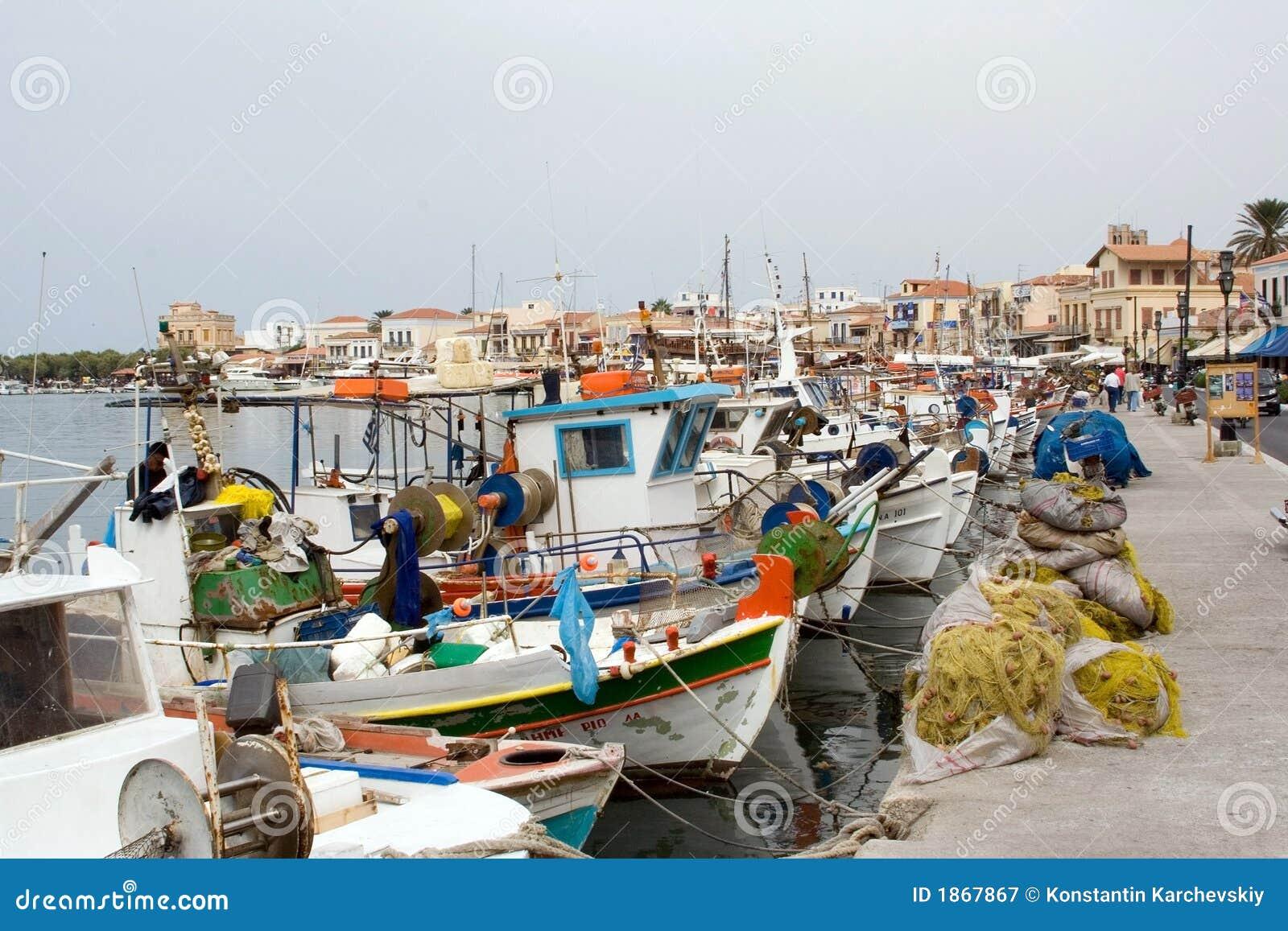 Picturesque greek port aegina island