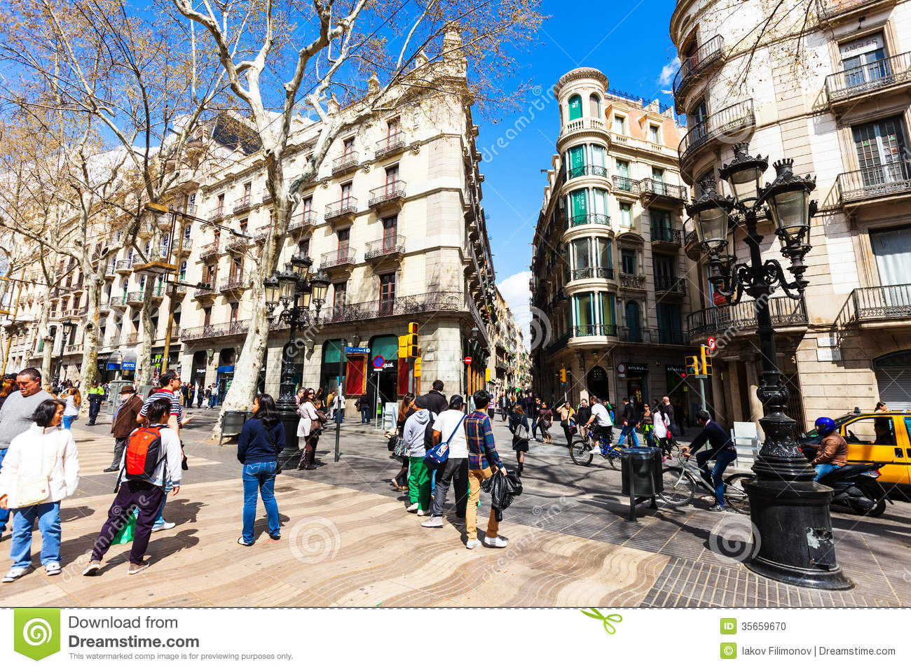 Exterior: Picturesque Houses At La Rambla, Barcelona Editorial Image