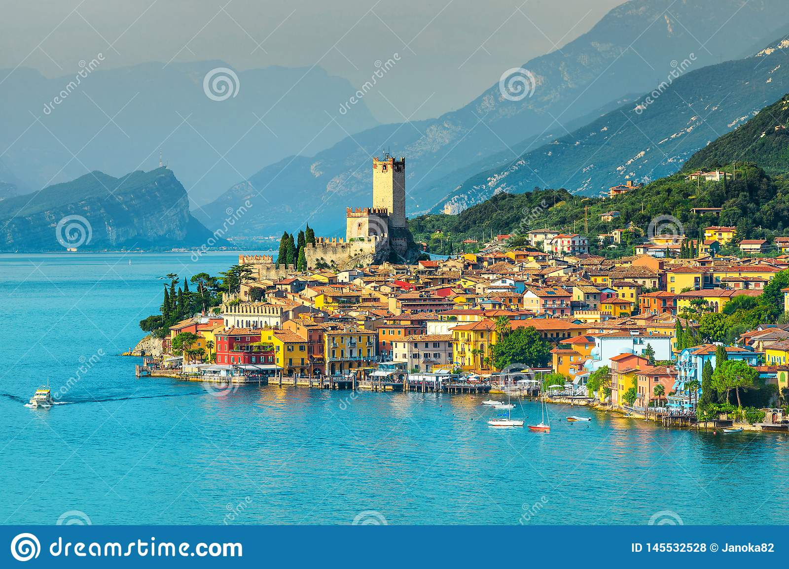 Picturesque Malcesine Tourist Resort With Colorful Buildings Garda Lake Italy Stock Photo Image Of Attraction Destination 145532528