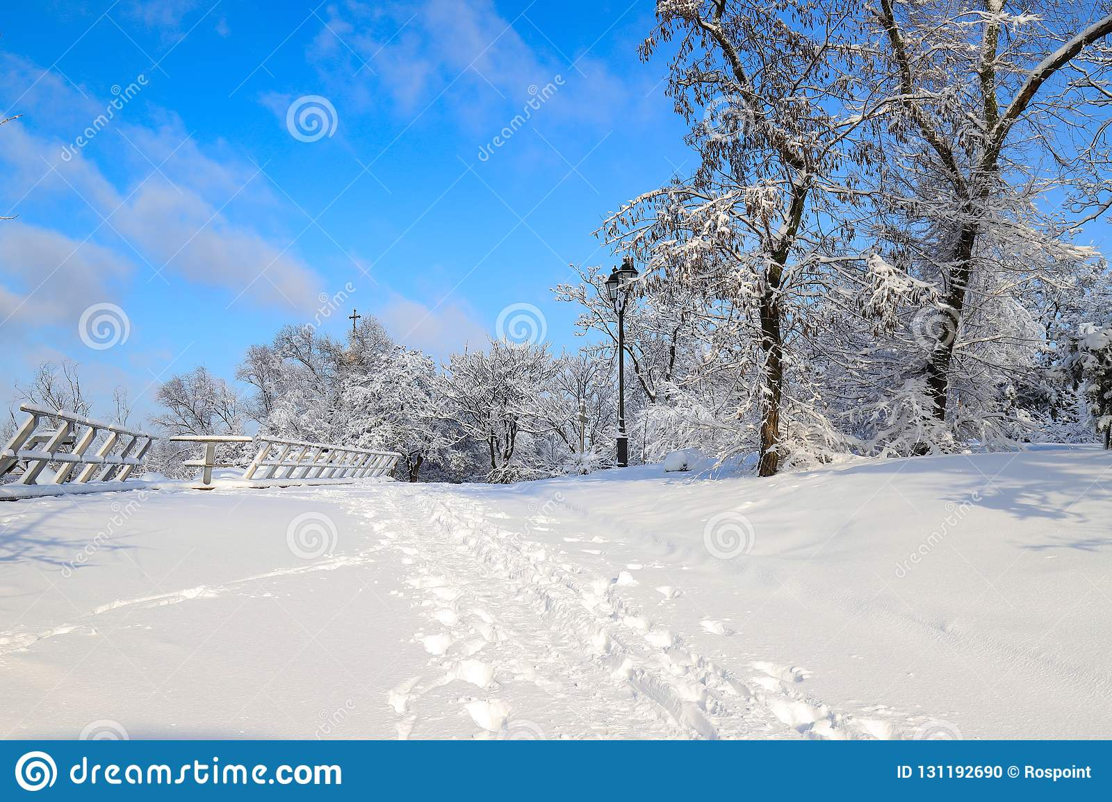 A picturesque Monastery Island winter landscape, park covered with deep snow, in the Dnipro city ,Dnepropetrovsk, Dnepr