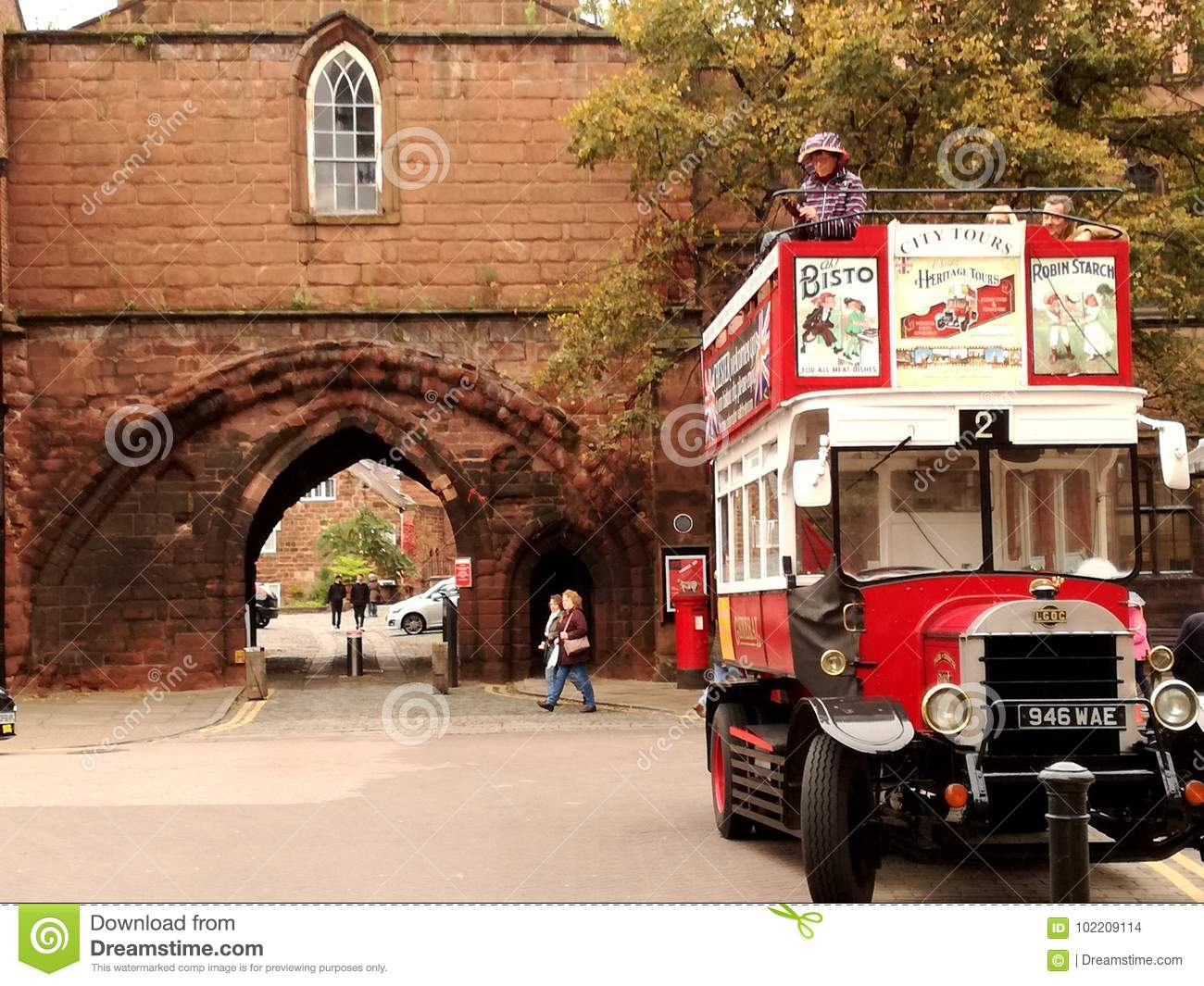 A bus on the Chester walls