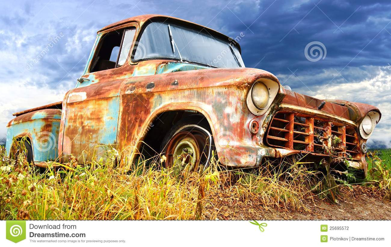 Picturesque Rural Landscape With Old Car. Stock Photo - Image of ...