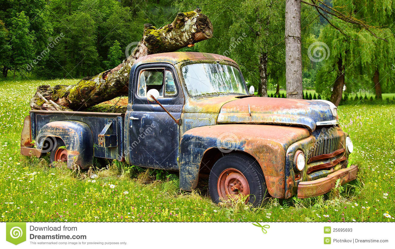 Picturesque Rural Landscape With Old Car Stock Photos