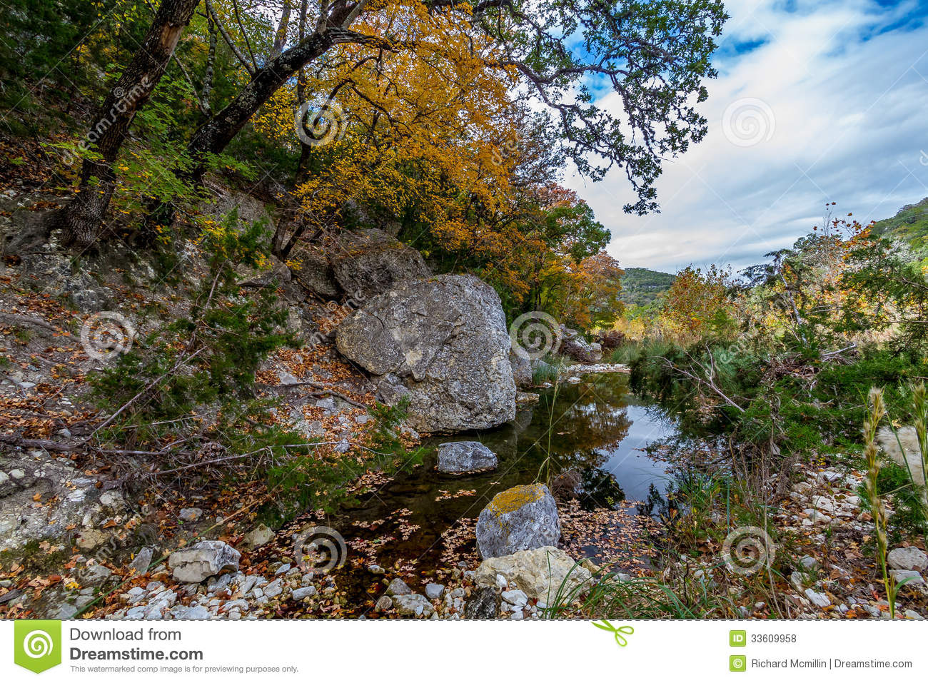 A Picturesque Scene with Beautiful Fall Foliage on a Tranquil Babbling Brook at Lost Maples State Park in Texas.