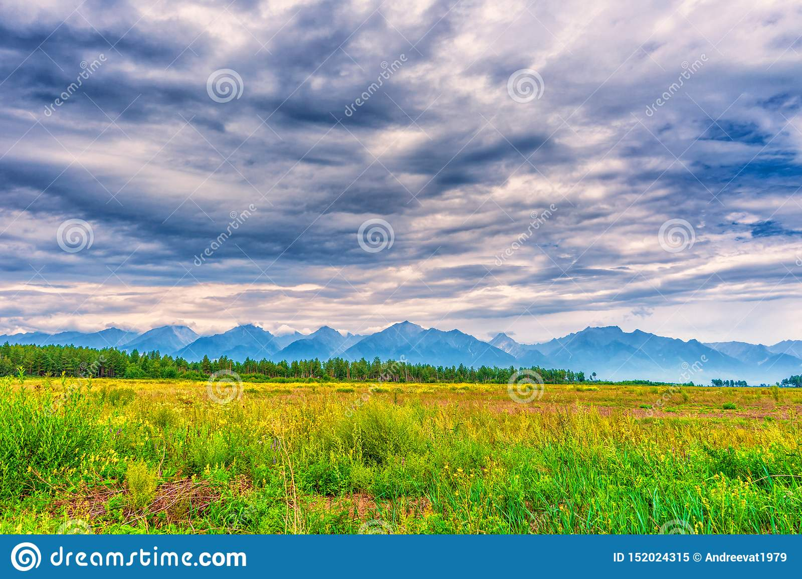 Picturesque summer landscape of mountain range with peaks, valley with green grass, grove and cloudy sky. Natural background with