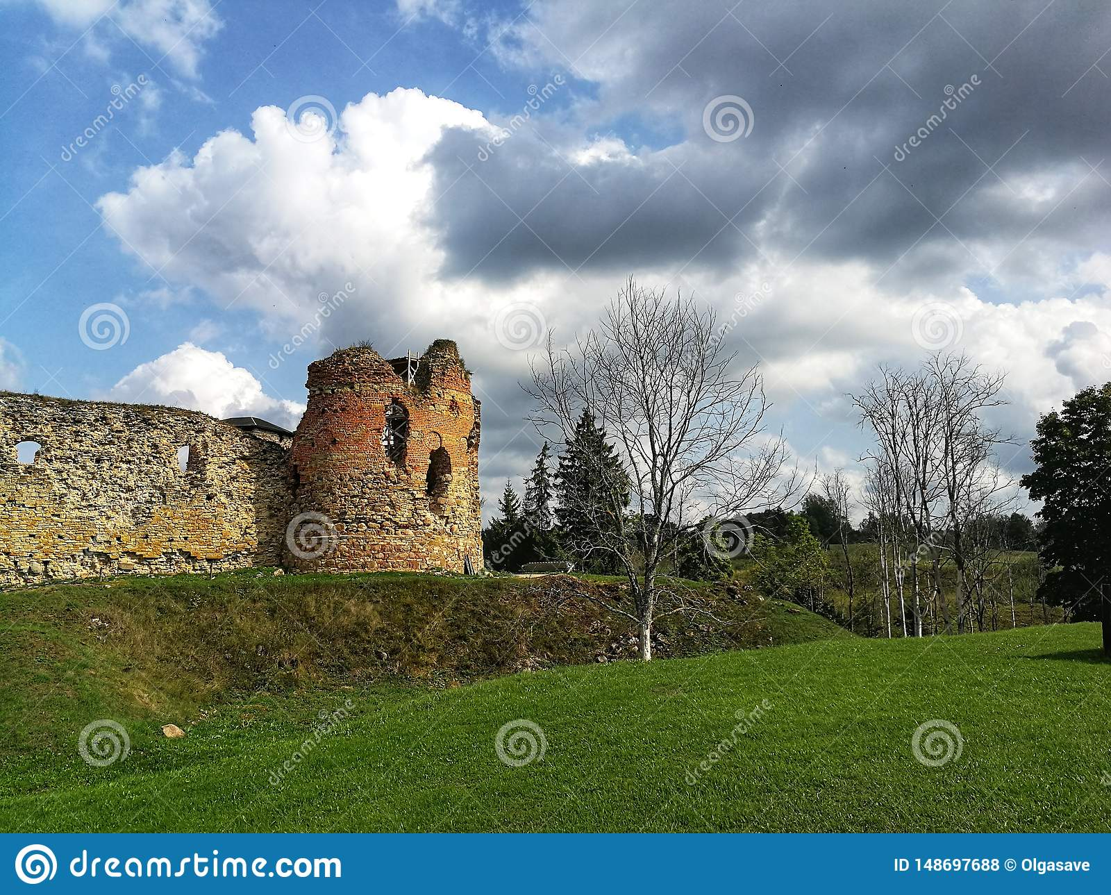 Picturesque Vastseliina castle ruins in sunny day. Historic and tourist place in Vorumaa, Estonia