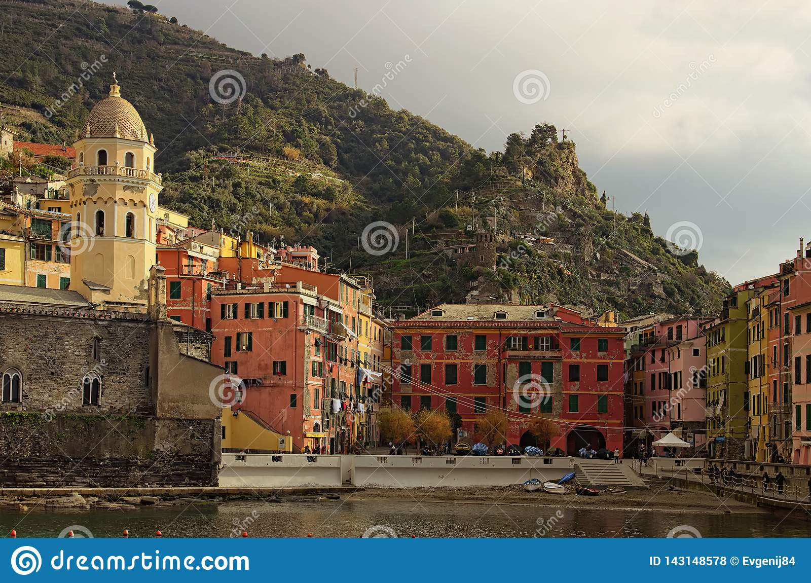 Picturesque view of the bay and the square with colorful vintage buildings. Morning landscape view