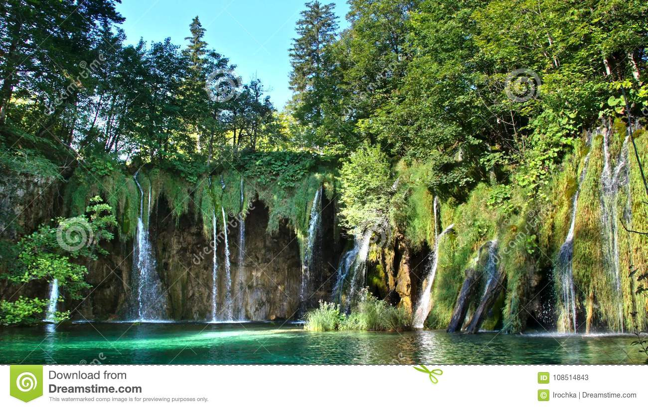 Picturesque waterfalls scenery in Plitvice Lakes National Park