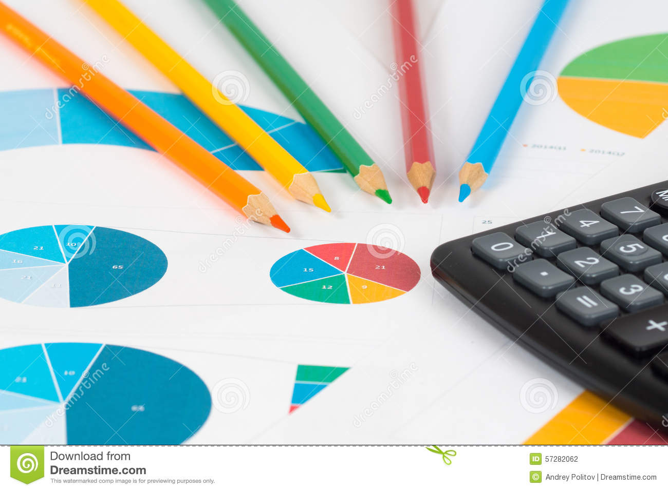 Pie and bar charts with pencils and calculator 3 stock photo image pie and bar charts with pencils and calculator 3 ccuart Gallery