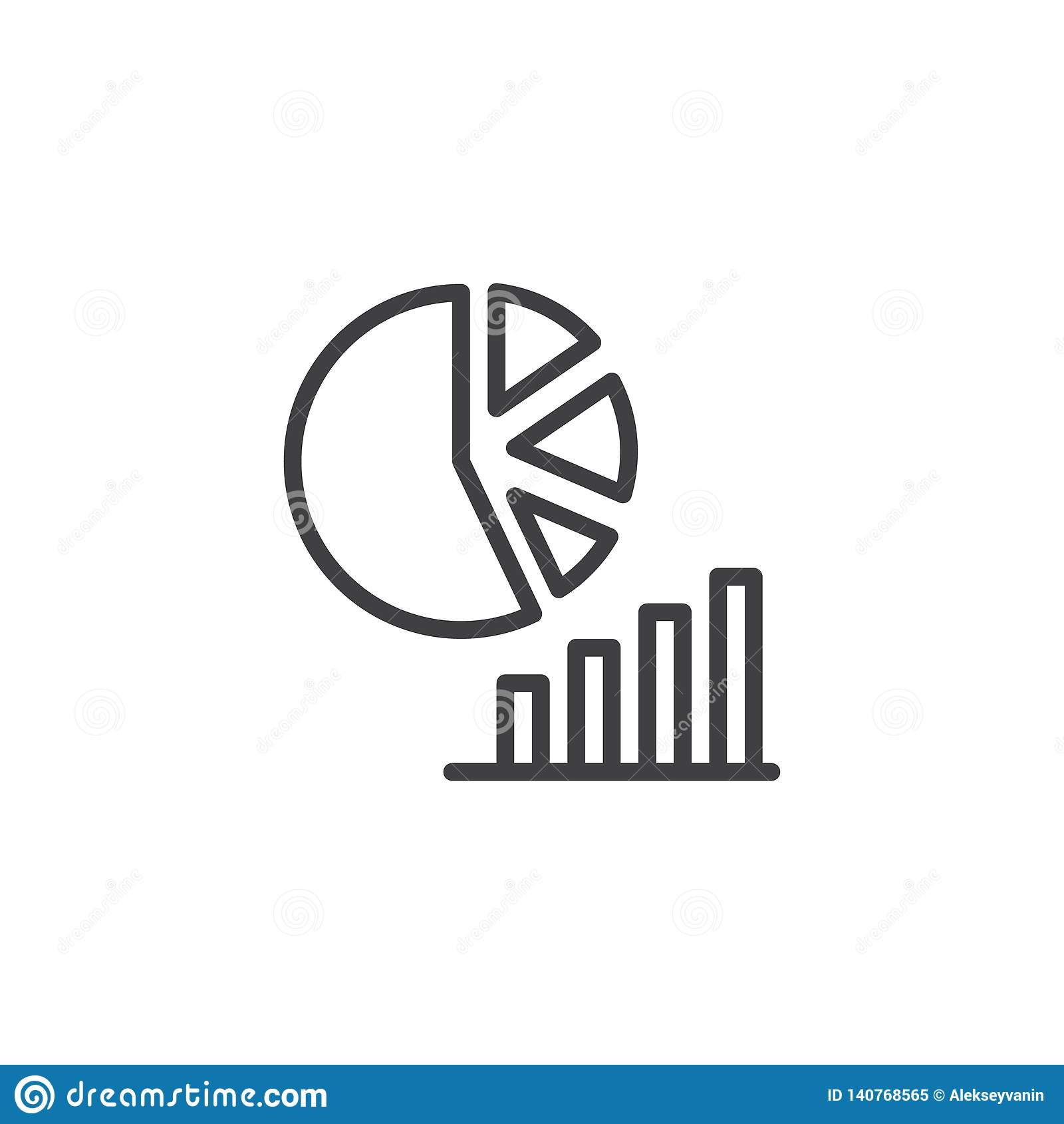 Pie Chart And Bar Graph Line Icon Stock Vector