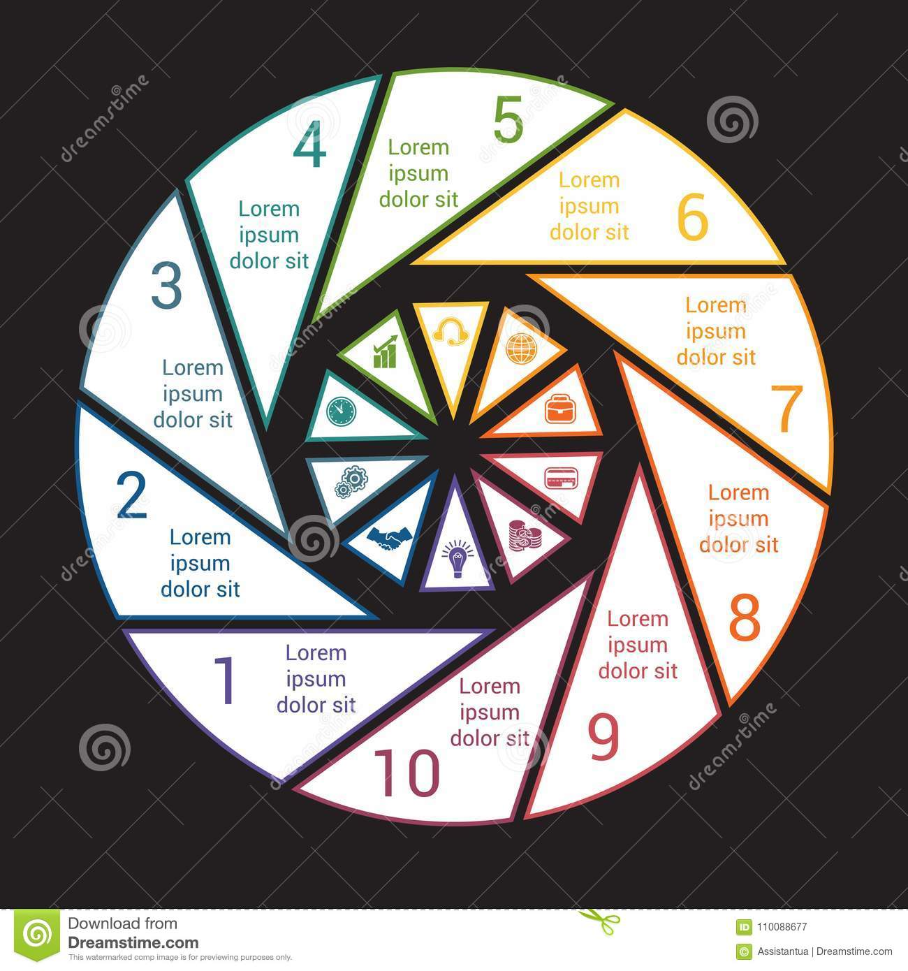 Pie chart with black background from colored lines for 10 option pie chart with black background from colored lines for 10 option nvjuhfo Choice Image