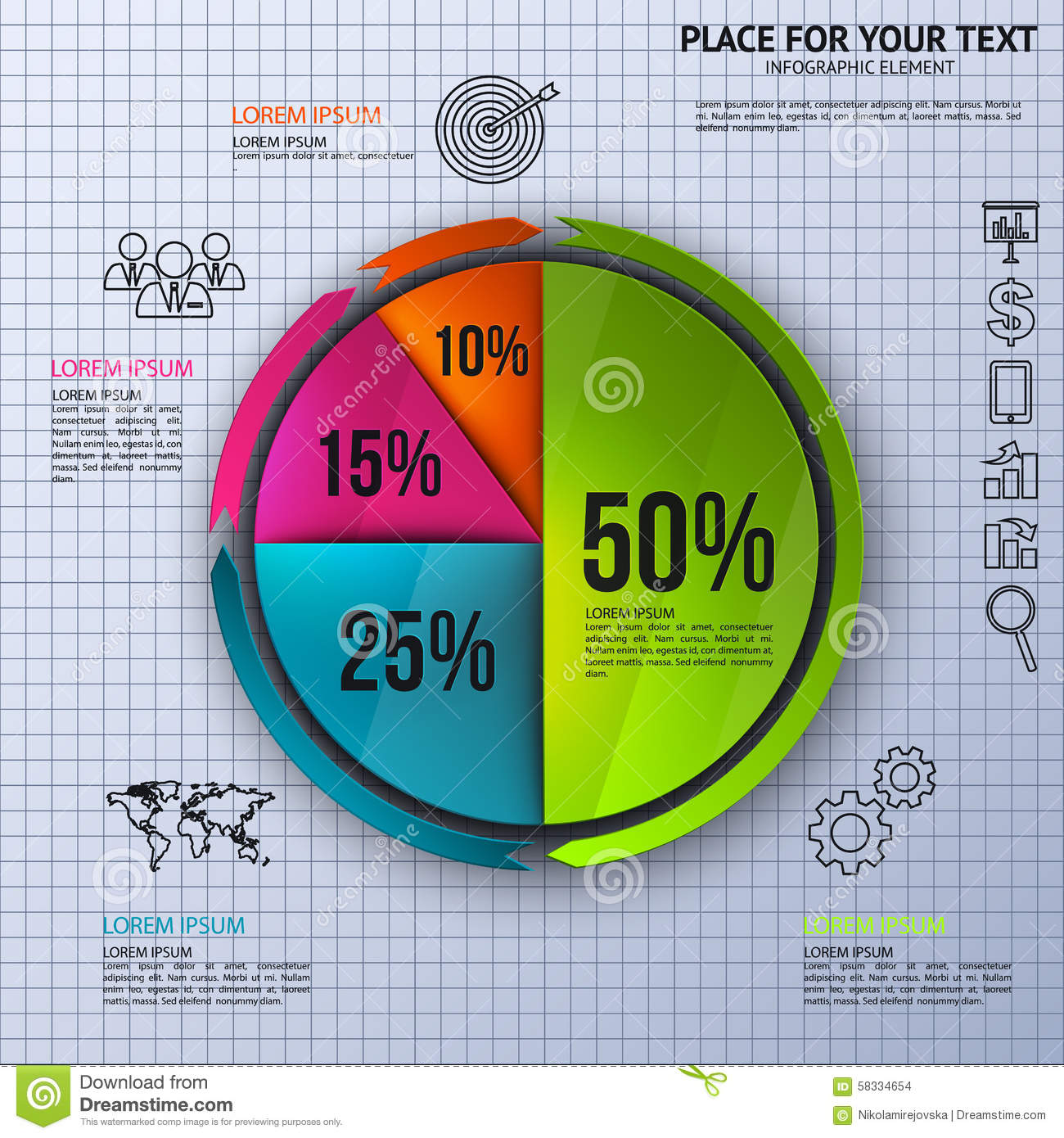 Pie Chart Business Statistics With Icons Stock Vector