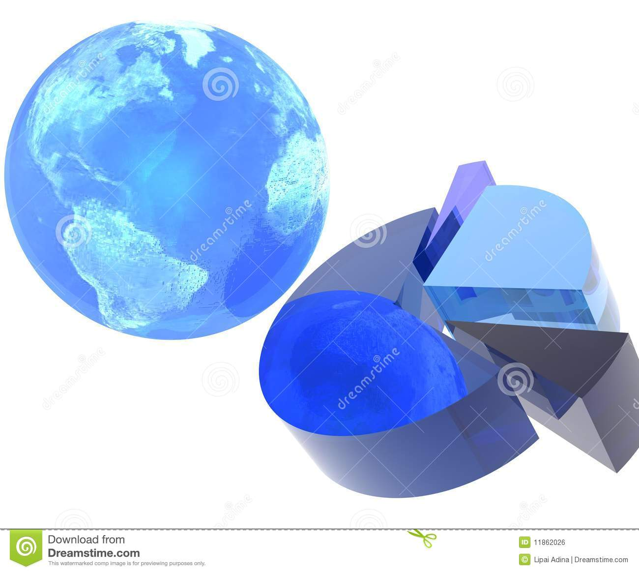 Pie Chart With Earth Stock Illustration Illustration Of
