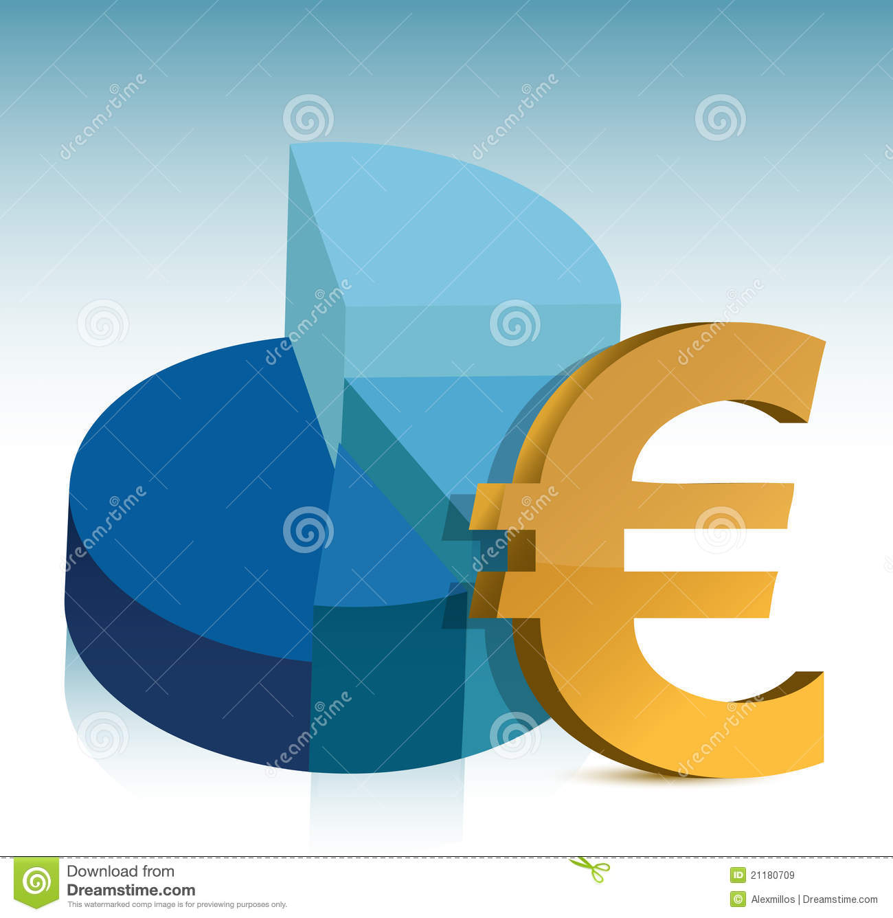 Pie chart euro sign illustration
