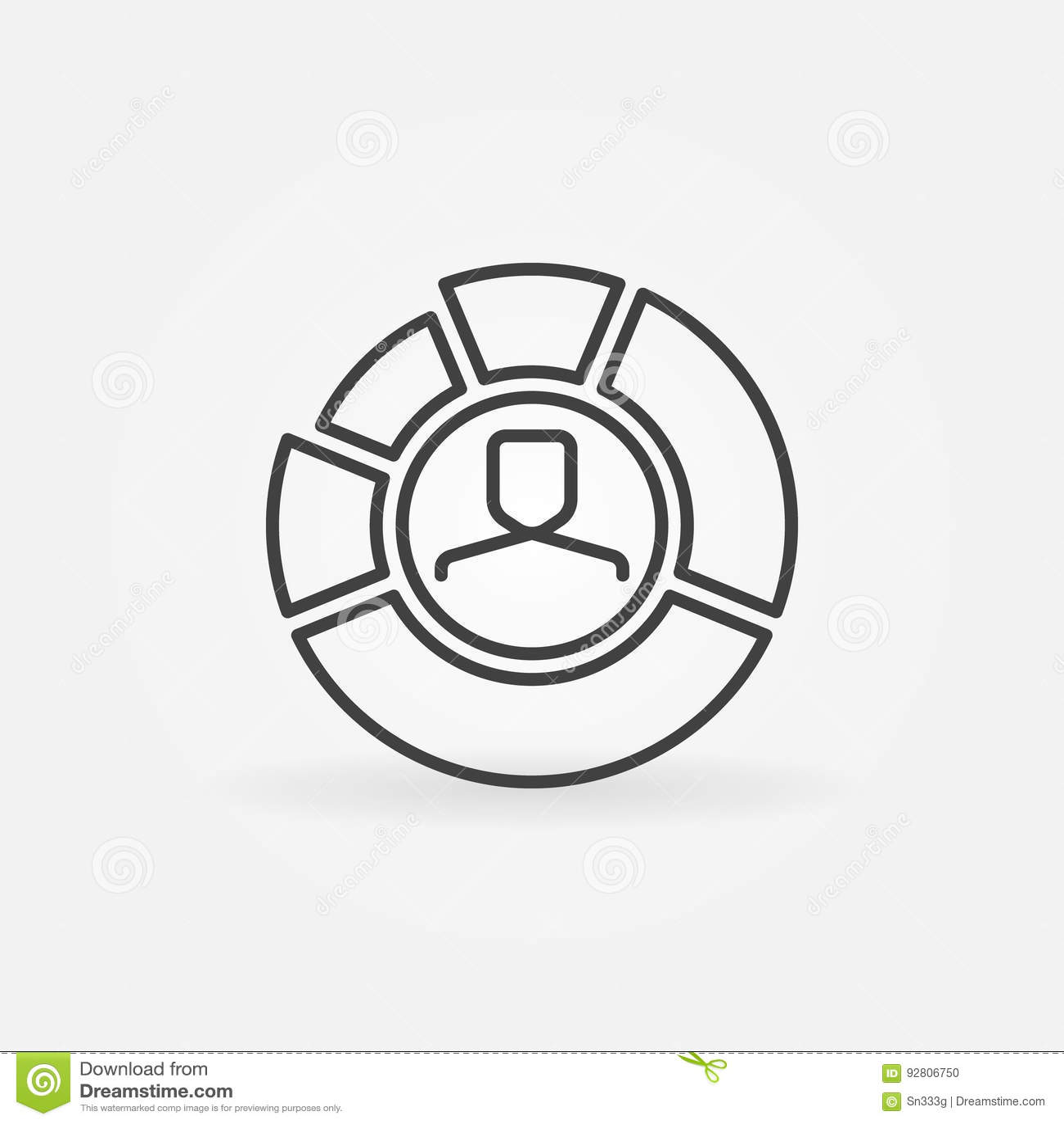 pie chart with face inside outline icon stock vector illustration rh dreamstime com Face Muscles Diagram Contour Face Diagram