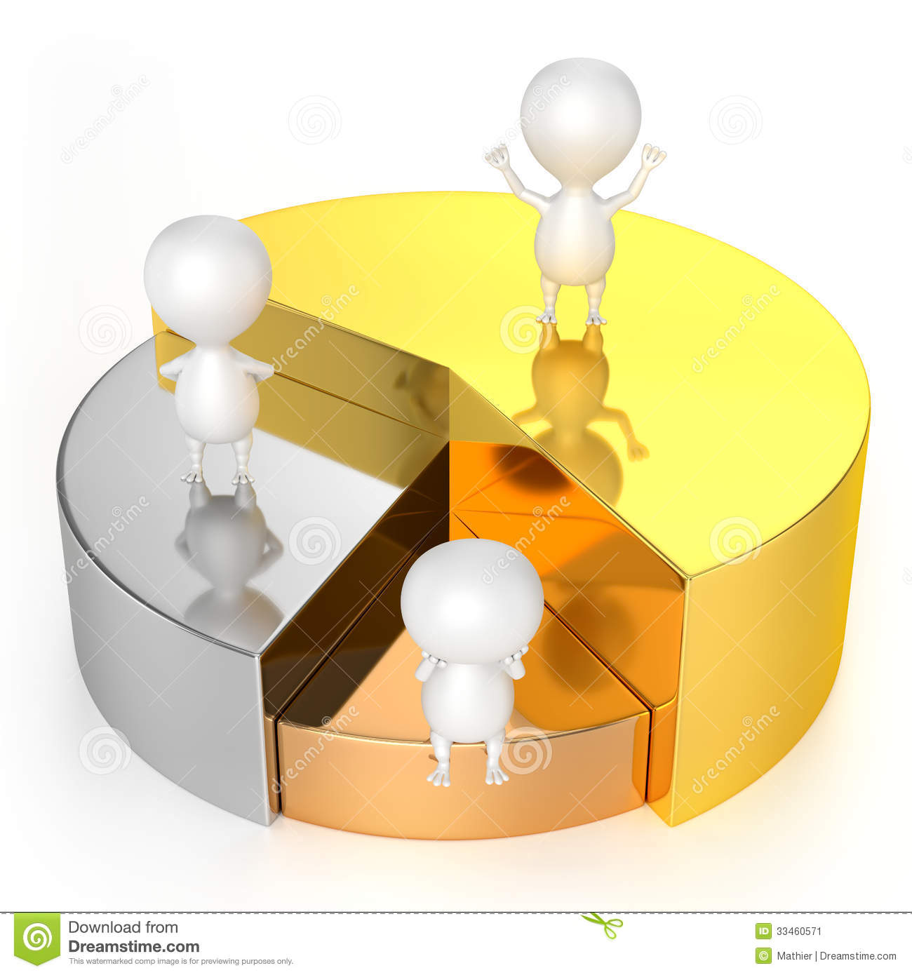Pie chart and 3d characters representing statistics report stock pie chart gold silver bronze and characters stock image geenschuldenfo Choice Image