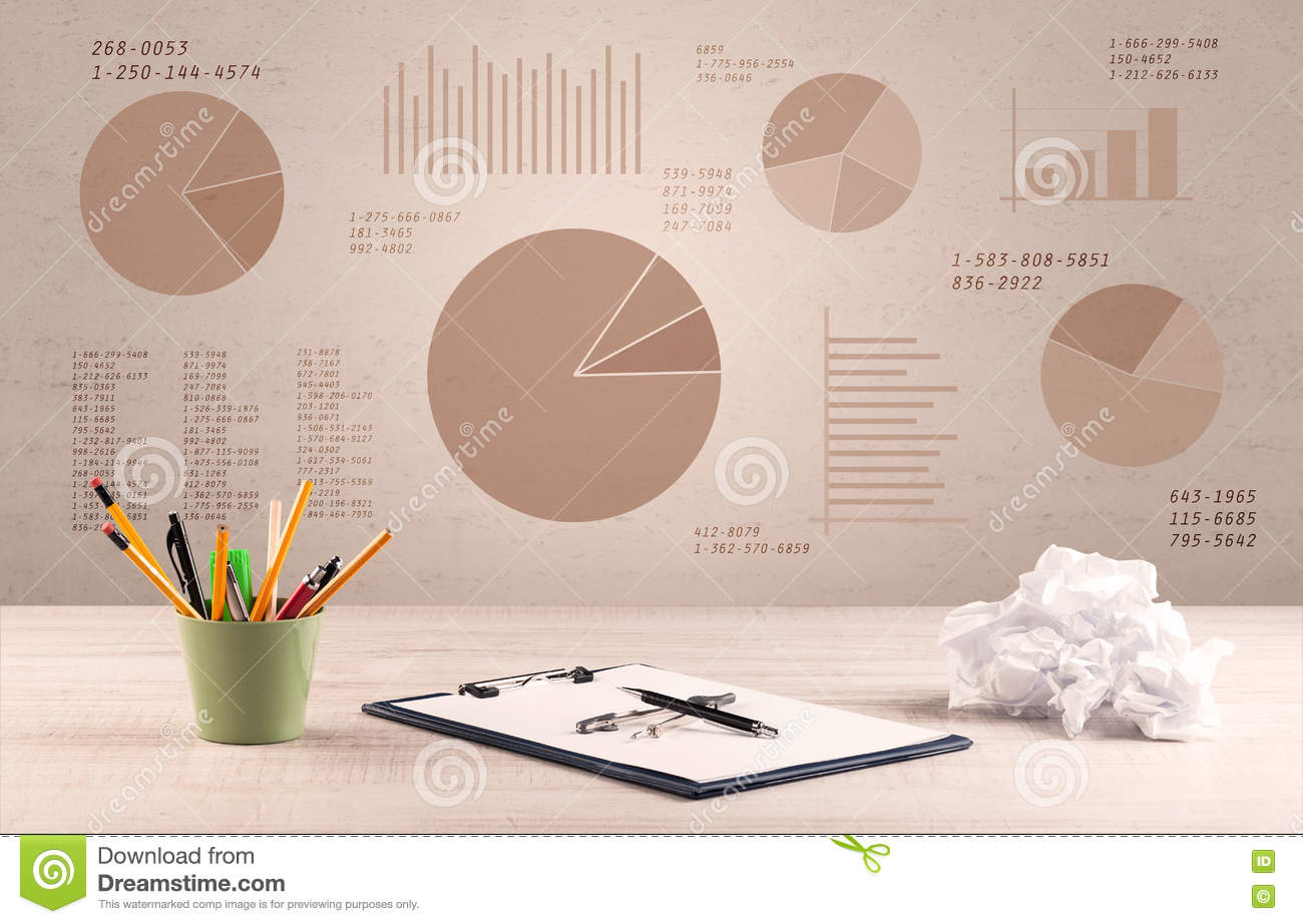 Pie Chart Graph Office Desk Stock Photo Image Of Chart Color