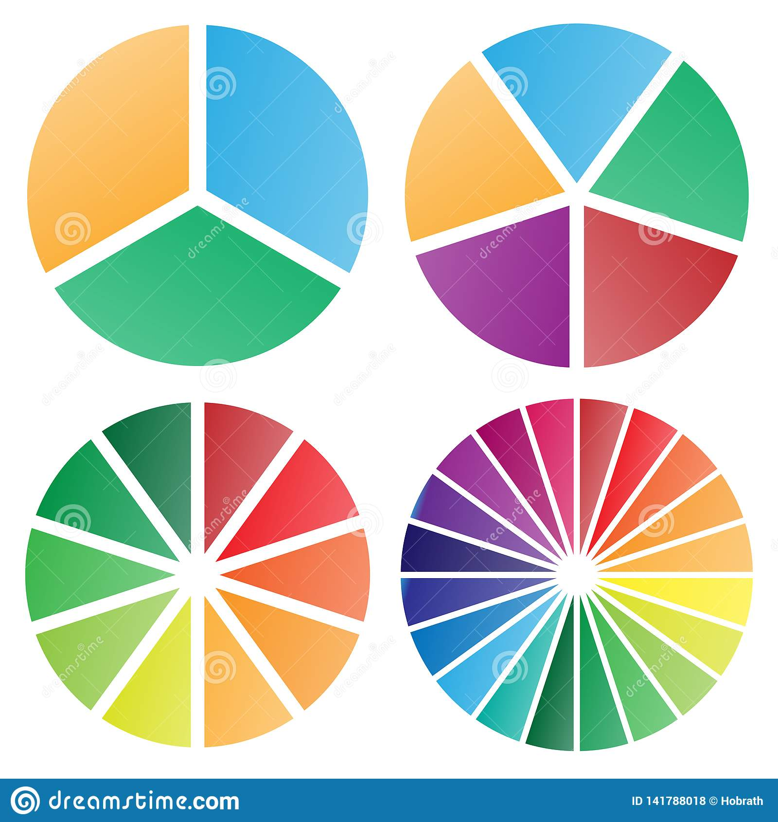 Pie Charts Group Isolated Vector Illustration Stock Vector ...