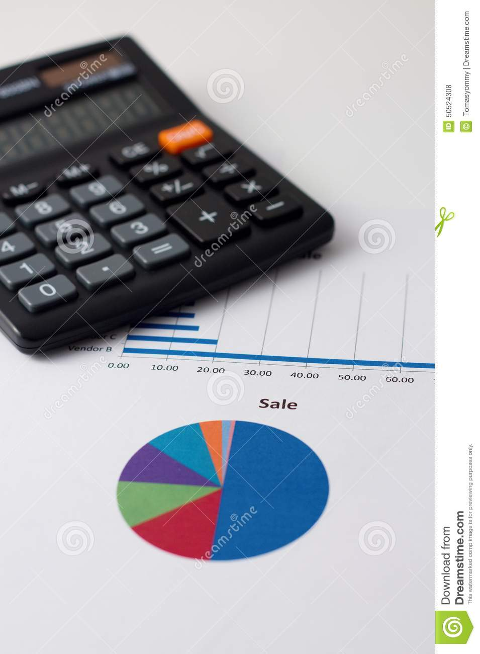 pie chart with sale headline and calculator stock photo image of