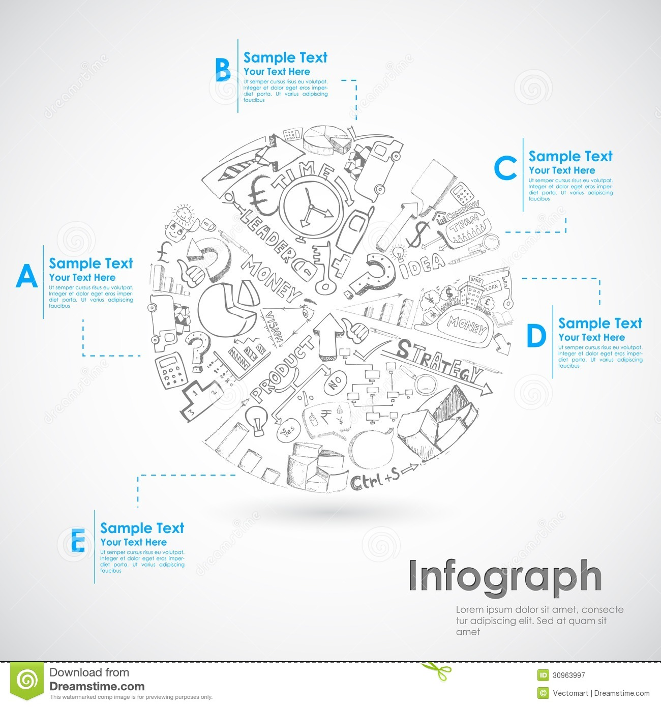 Pie Chart Sketch Royalty Free Stock Photography
