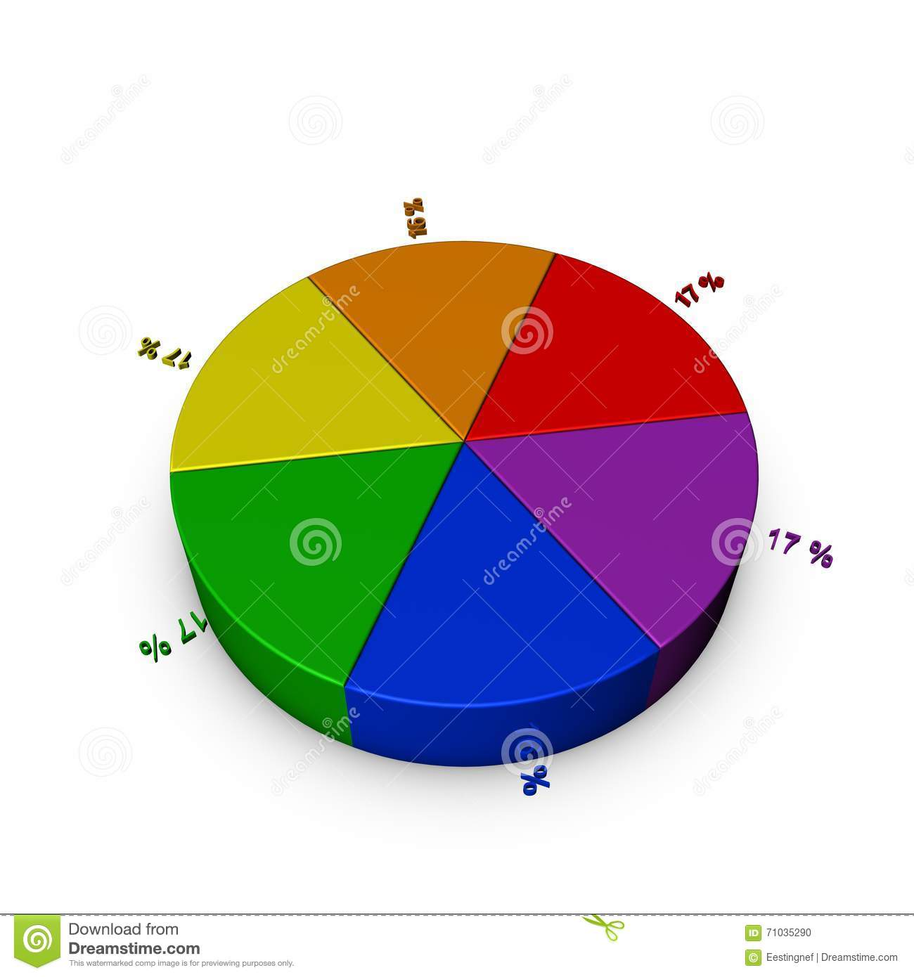 Pie Chart Template Colorful 3d Rendering Illustration Stock