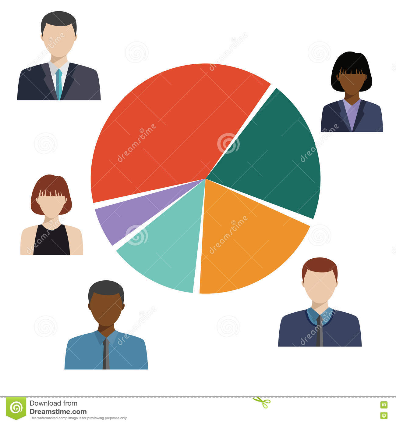 Pie Diagram, Demographic Statistic Information. Stock Vector ...