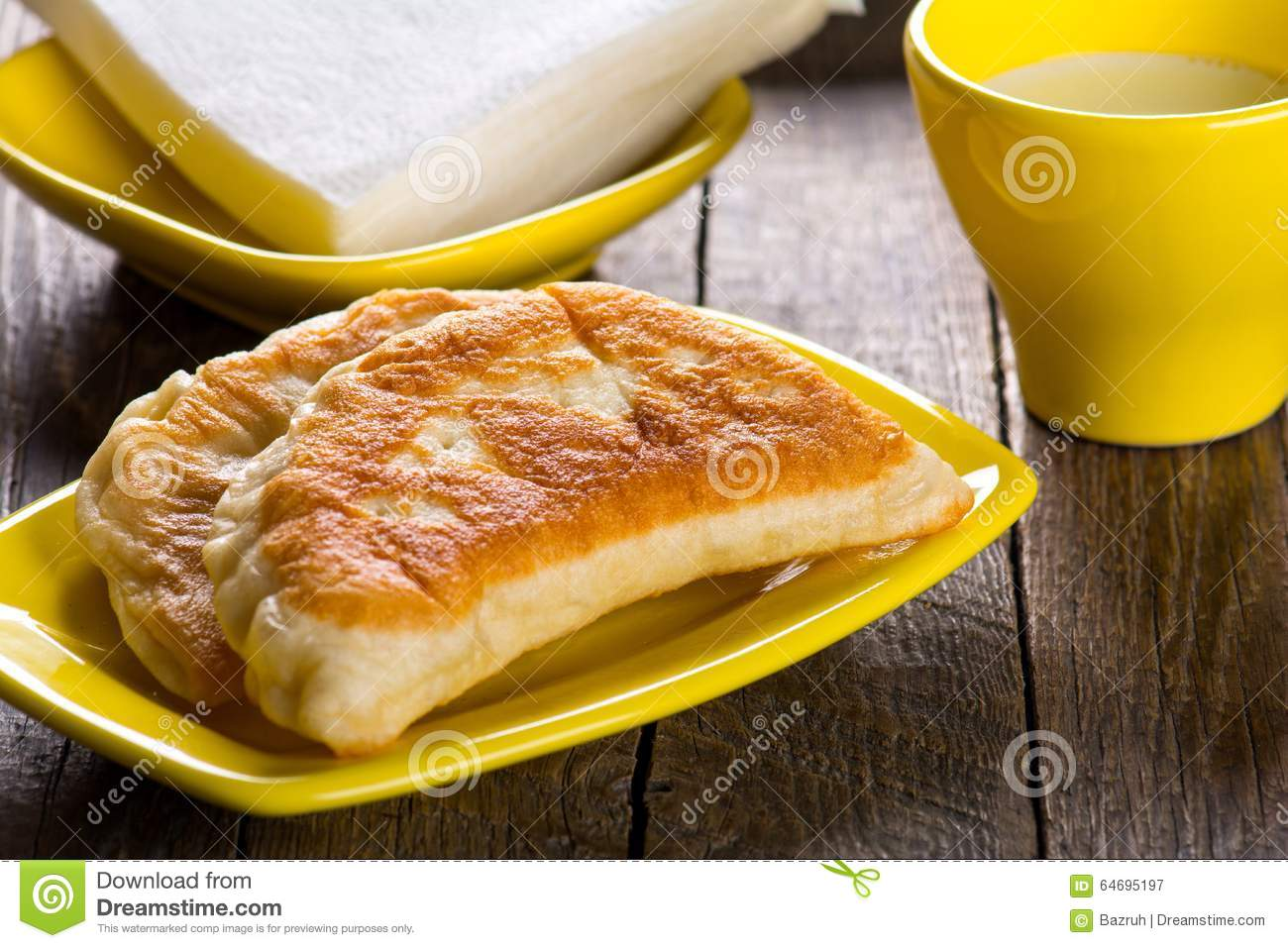 Hot dinner, tasty meat pie with milk.