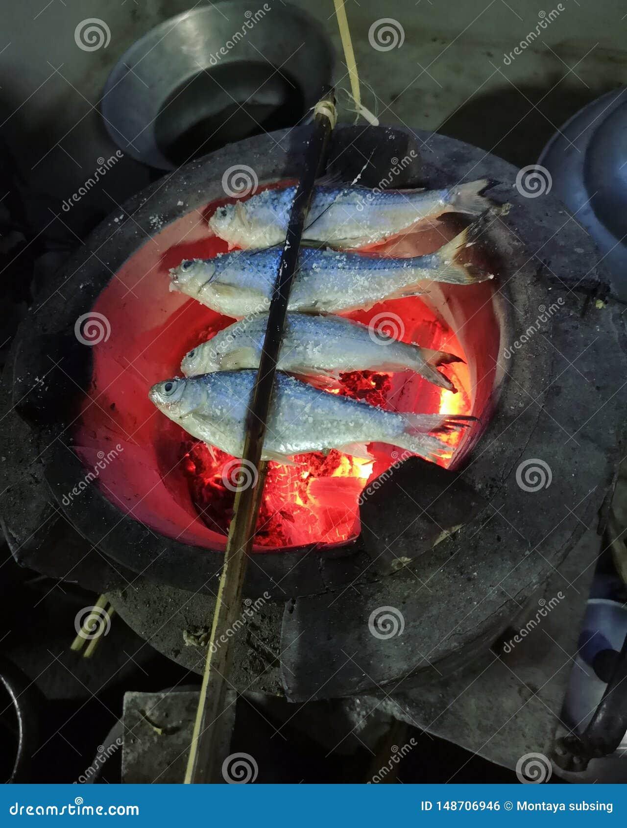 Piec na grillu ryba na węgla drzewnego piecowym tajlandzkim jedzeniu
