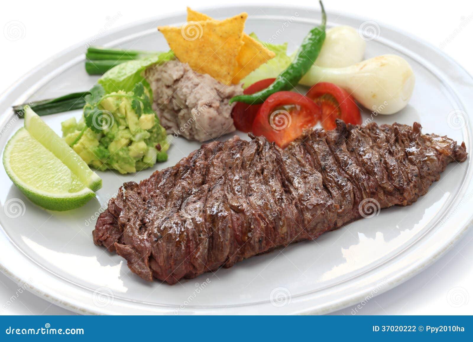 Piec na grillu spódnicowy stek, meksykańska kuchnia
