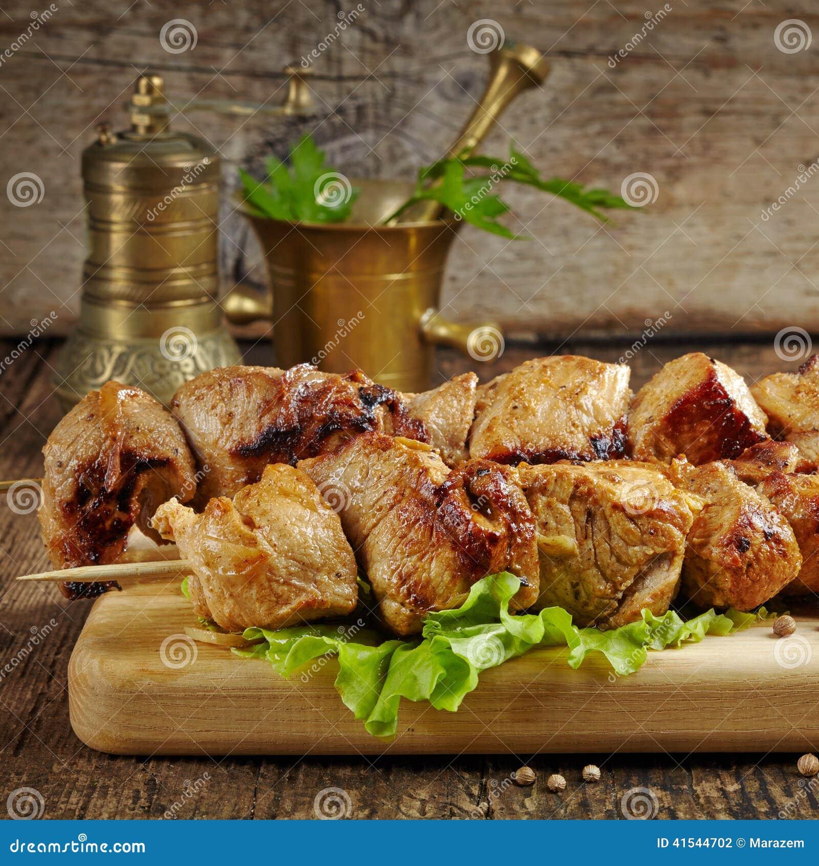 Piec na grillu wieprzowiny mięsa kebab