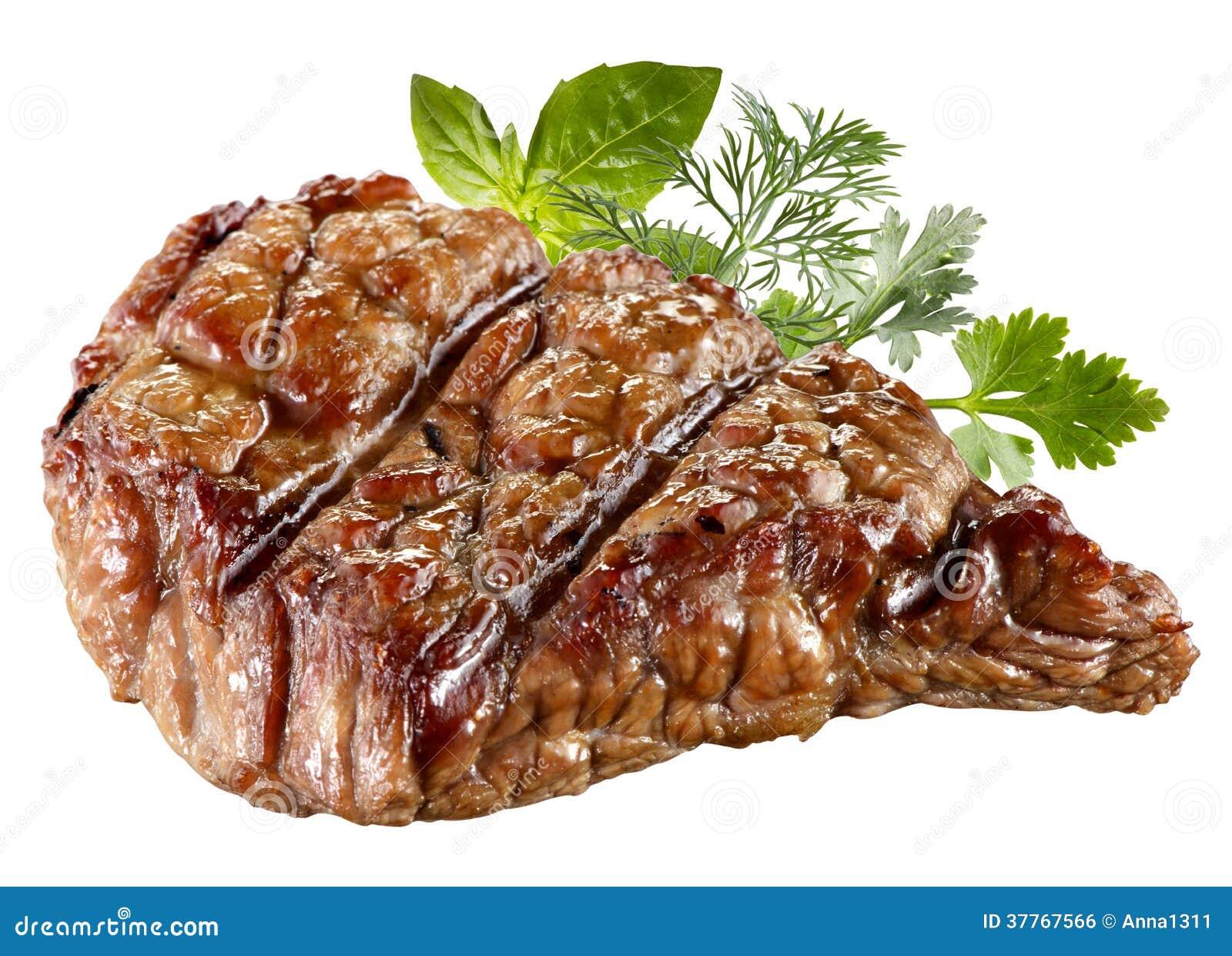 Piec na grillu wołowina stek Odizolowywający. Ścinek ścieżka