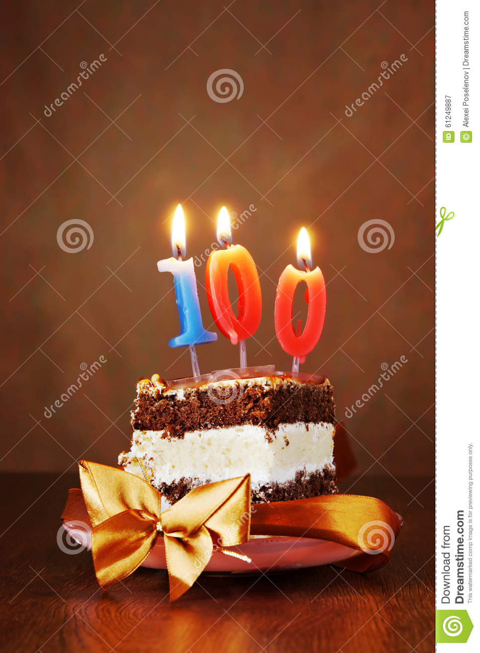 Piece Of Birthday Cake With Burning Candle As Number One