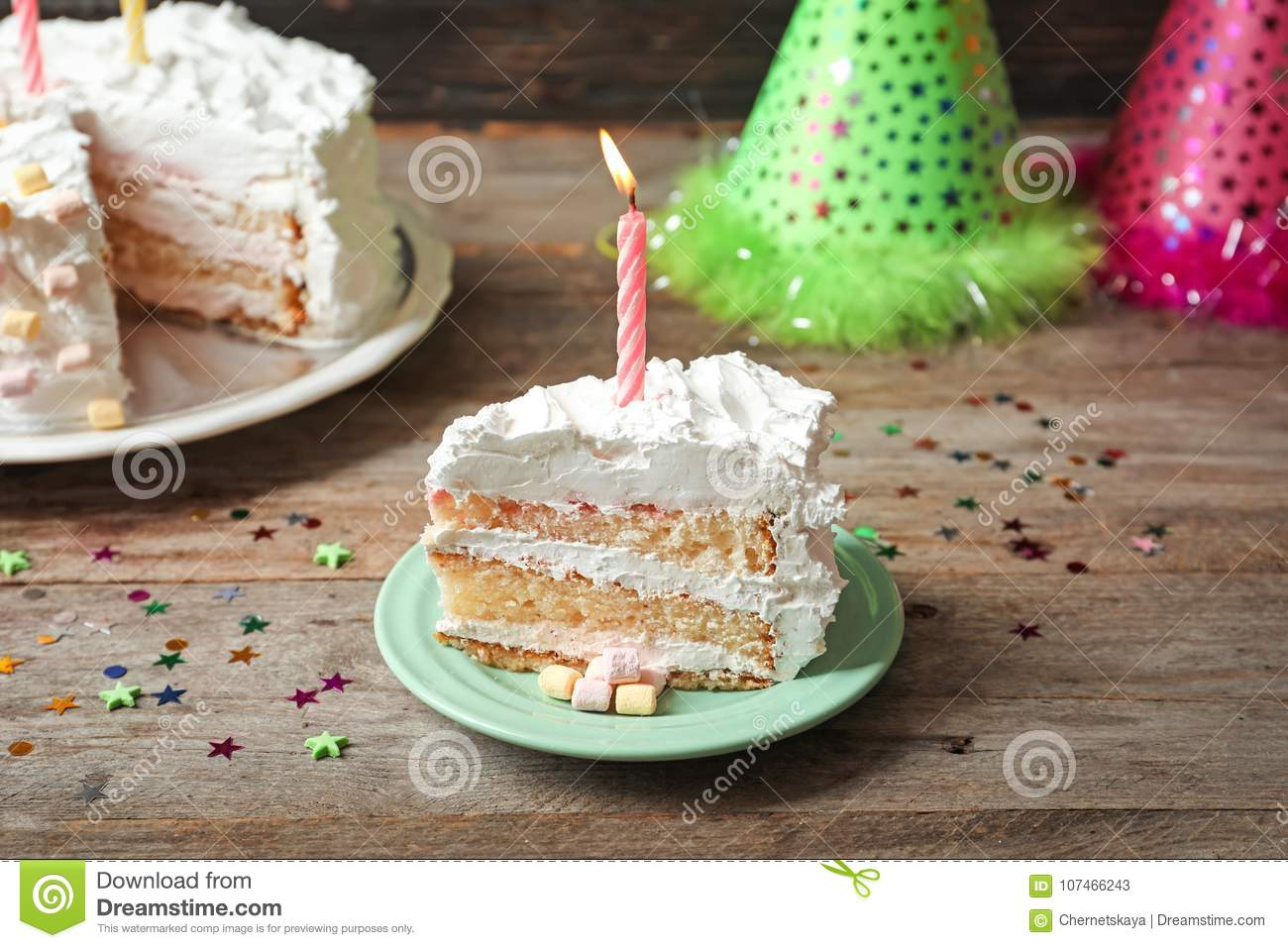 Incredible Piece Of Birthday Cake With Candle Stock Image Image Of Festive Personalised Birthday Cards Petedlily Jamesorg